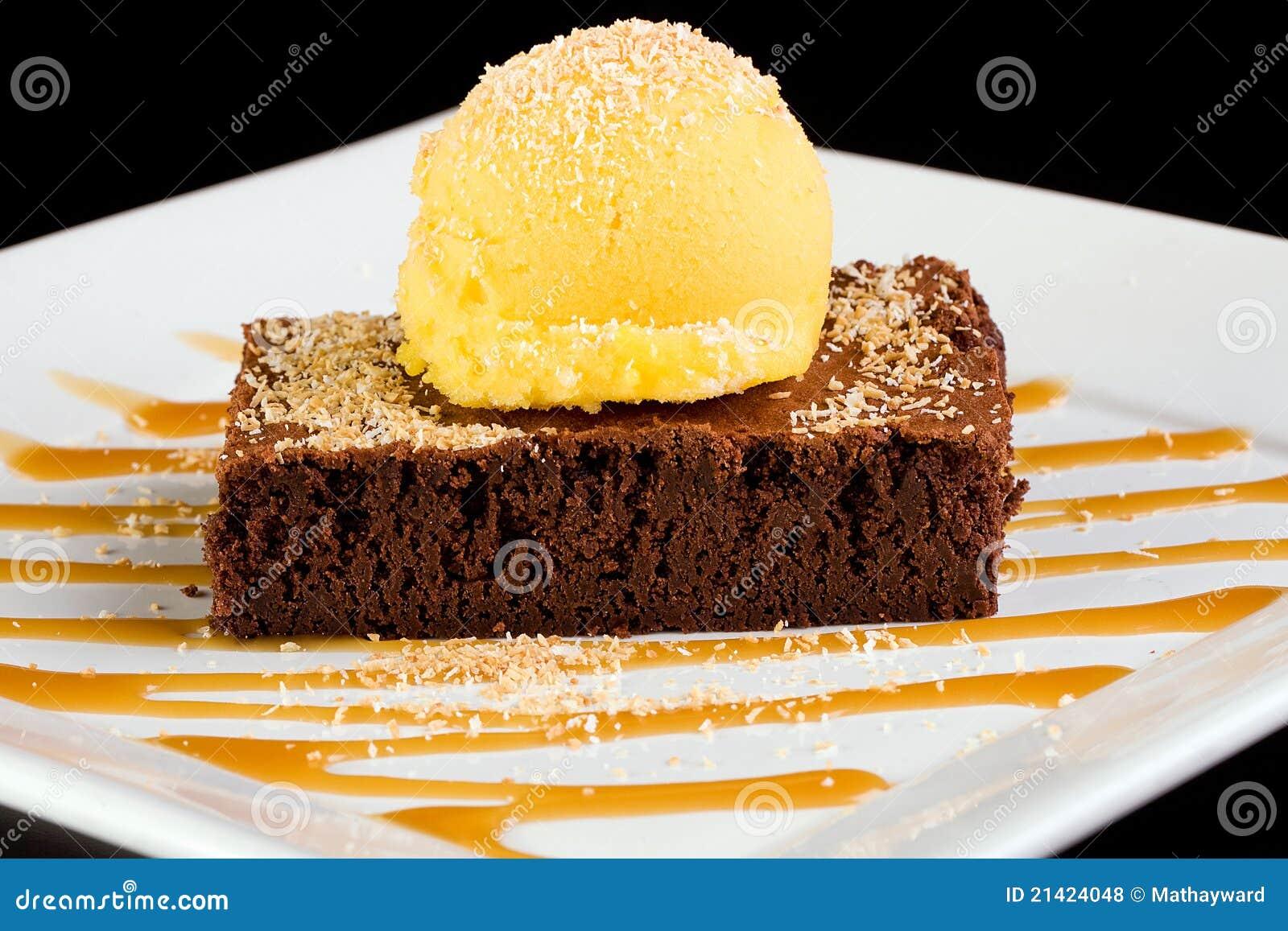 flourless, gluten free chocolate torte topped wtih fresh mango sorbet ...