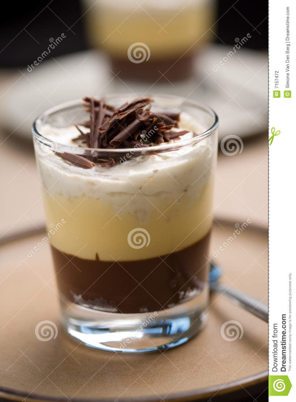 Delicious chocolate trifle with chocolate curls on top.