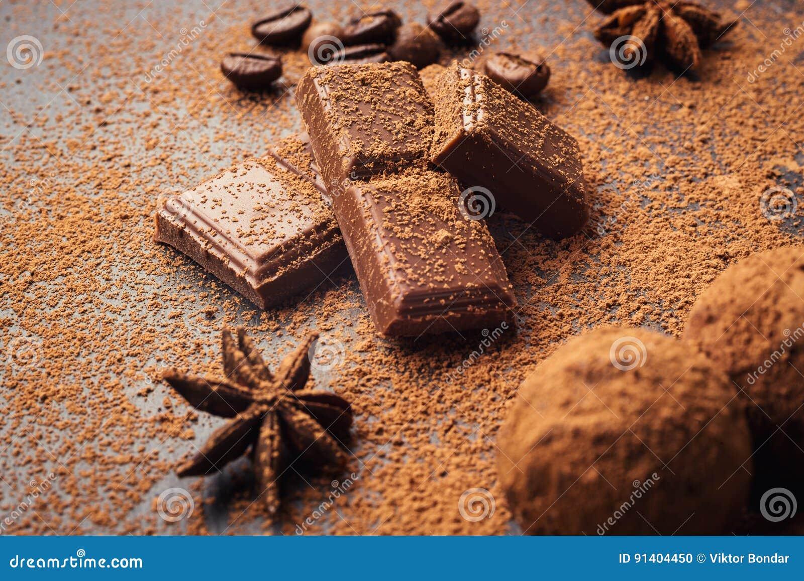 Chocolate truffle,Truffle chocolate candies with cocoa powder.Homemade fresh energy balls with chocolate.Gourmet assorted truffle
