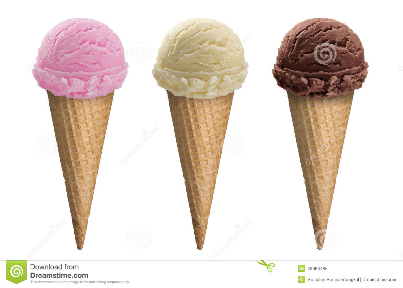 Chocolate, Vanilla And Strawberry, Top 3 Flavors Ice Cream ...