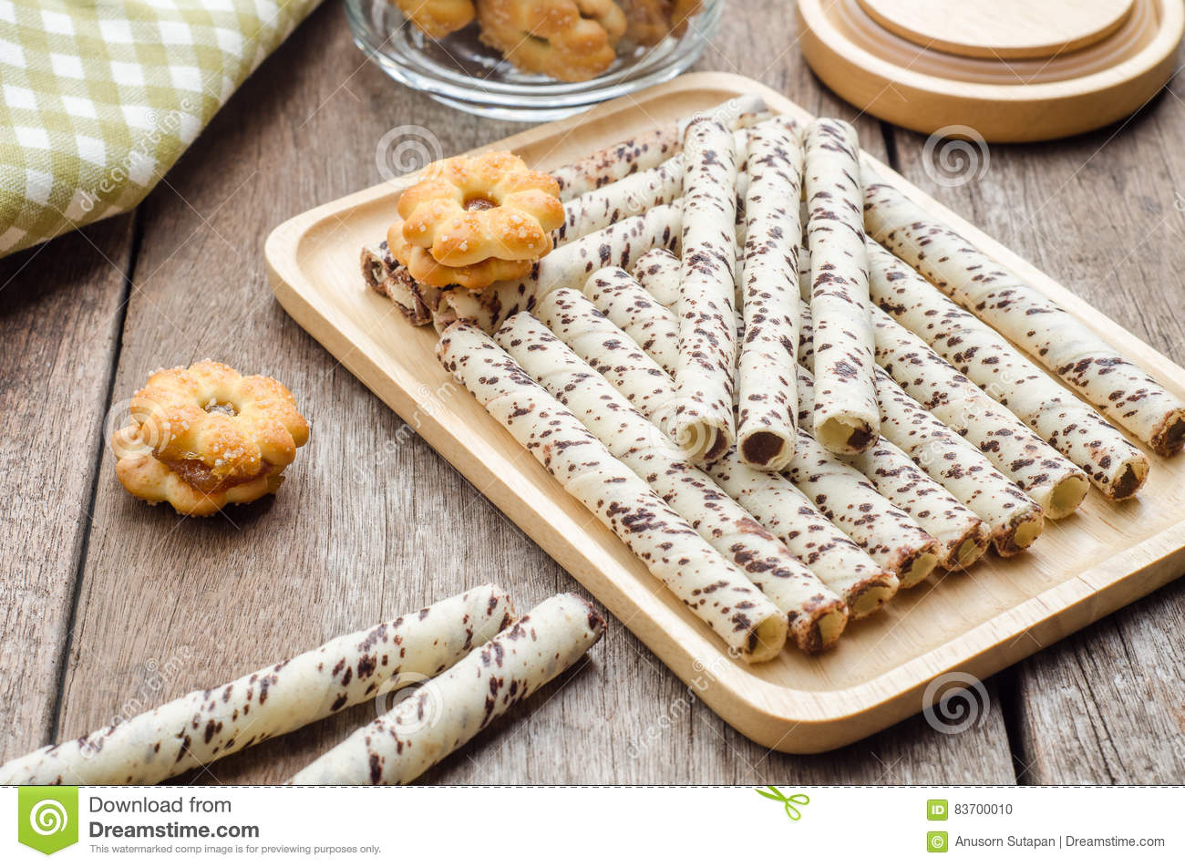 Chocolate Wafer Sticks And Cookies On Wooden Table Snack For Br