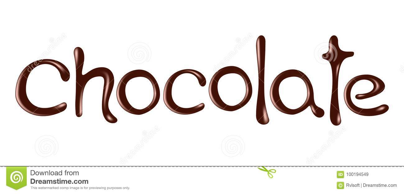 chocolate word chocolate realistic vector illustration stock vector