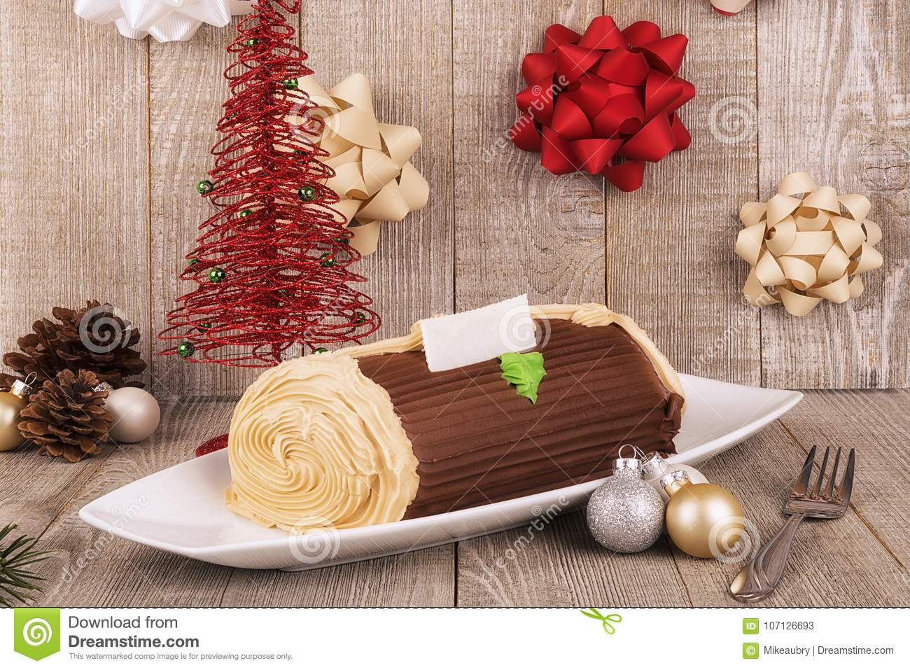 Chocolate Yule Log Cake With Christmas Decorations ...