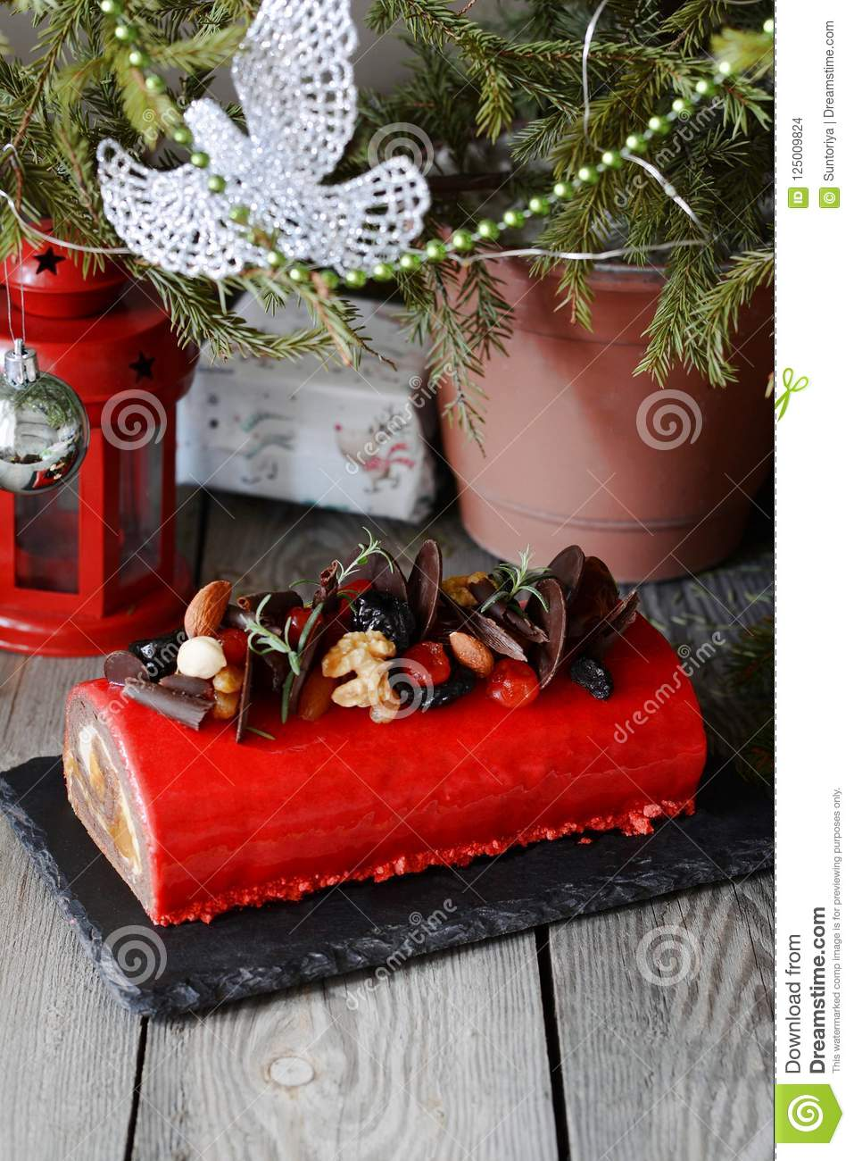 Chocolate Yule Log Christmas Cake On Wooden Background. Traditional ...