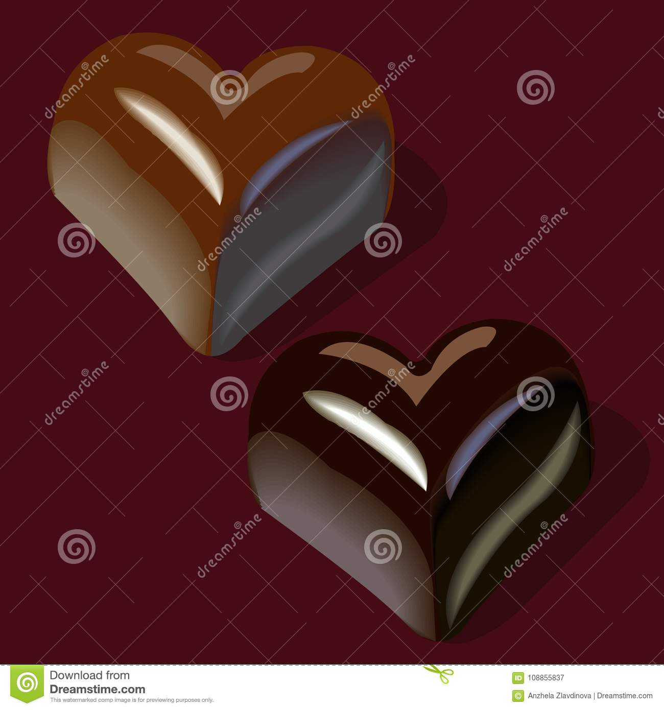 Chocolates In The Shape Of Hearts Stock Vector Illustration Of