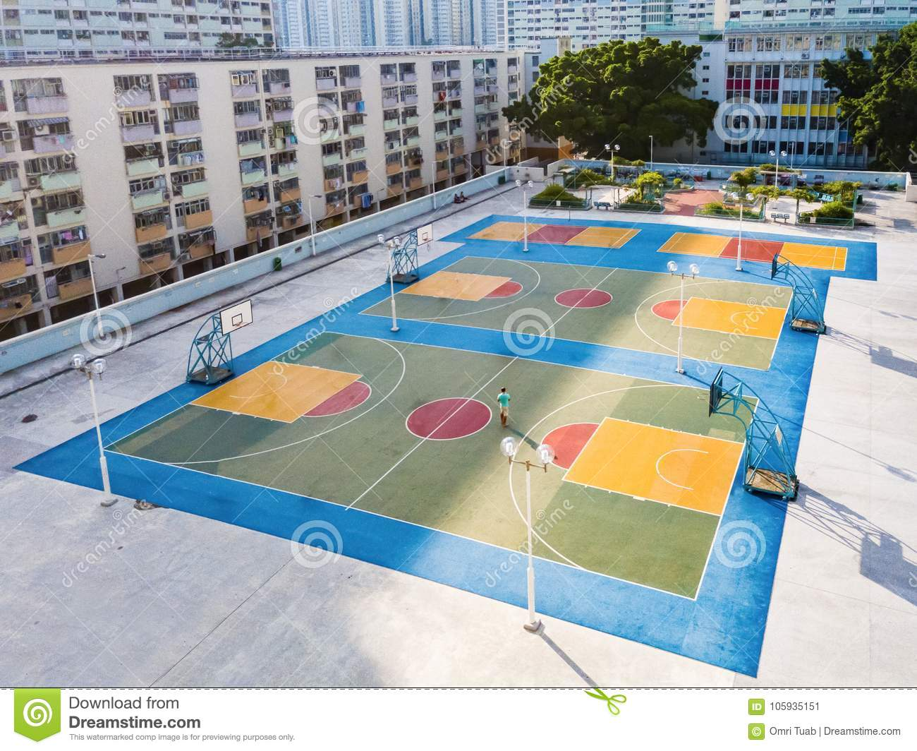 Choi Hung colorful basketball court