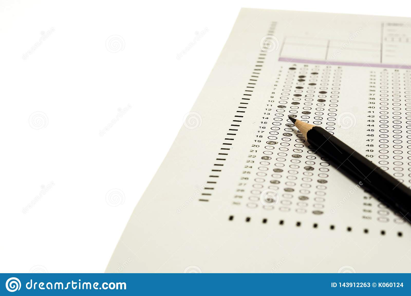 Choice answer sheet and pencil