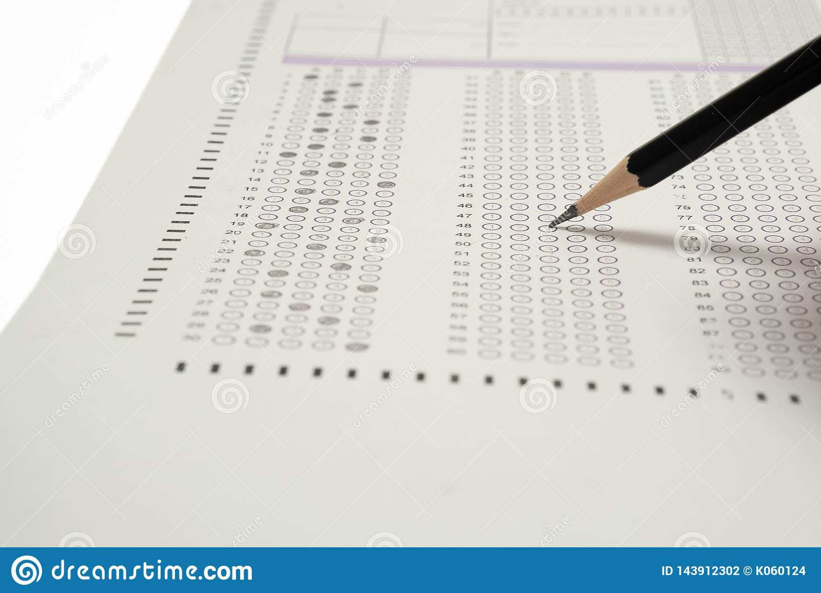 Choice Answer Sheet And Pencil Stock Photo - Image of examination