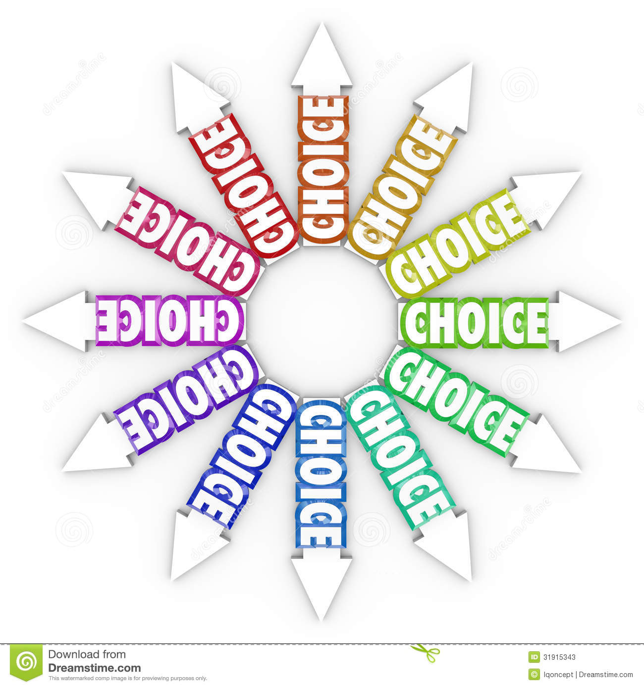 Choice Arrows Different Choices Opportunities Uncertainty ...