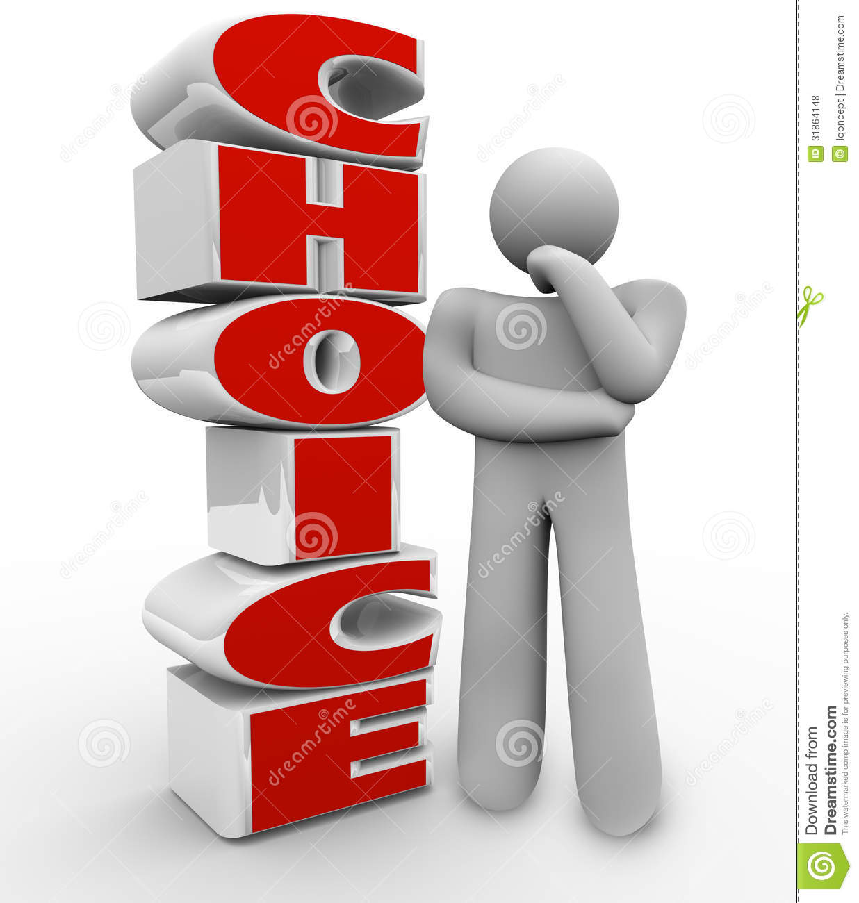 Choice Thinking Person Stands Beside Word And Ponders A
