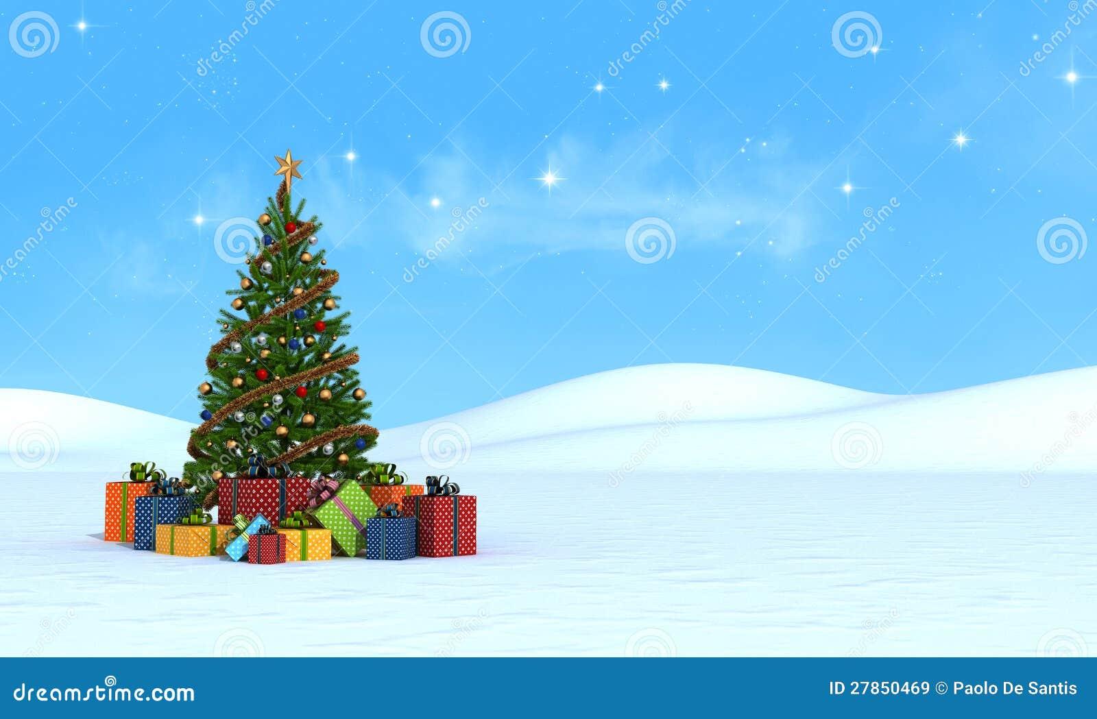 Choinka na śniegu - rendering