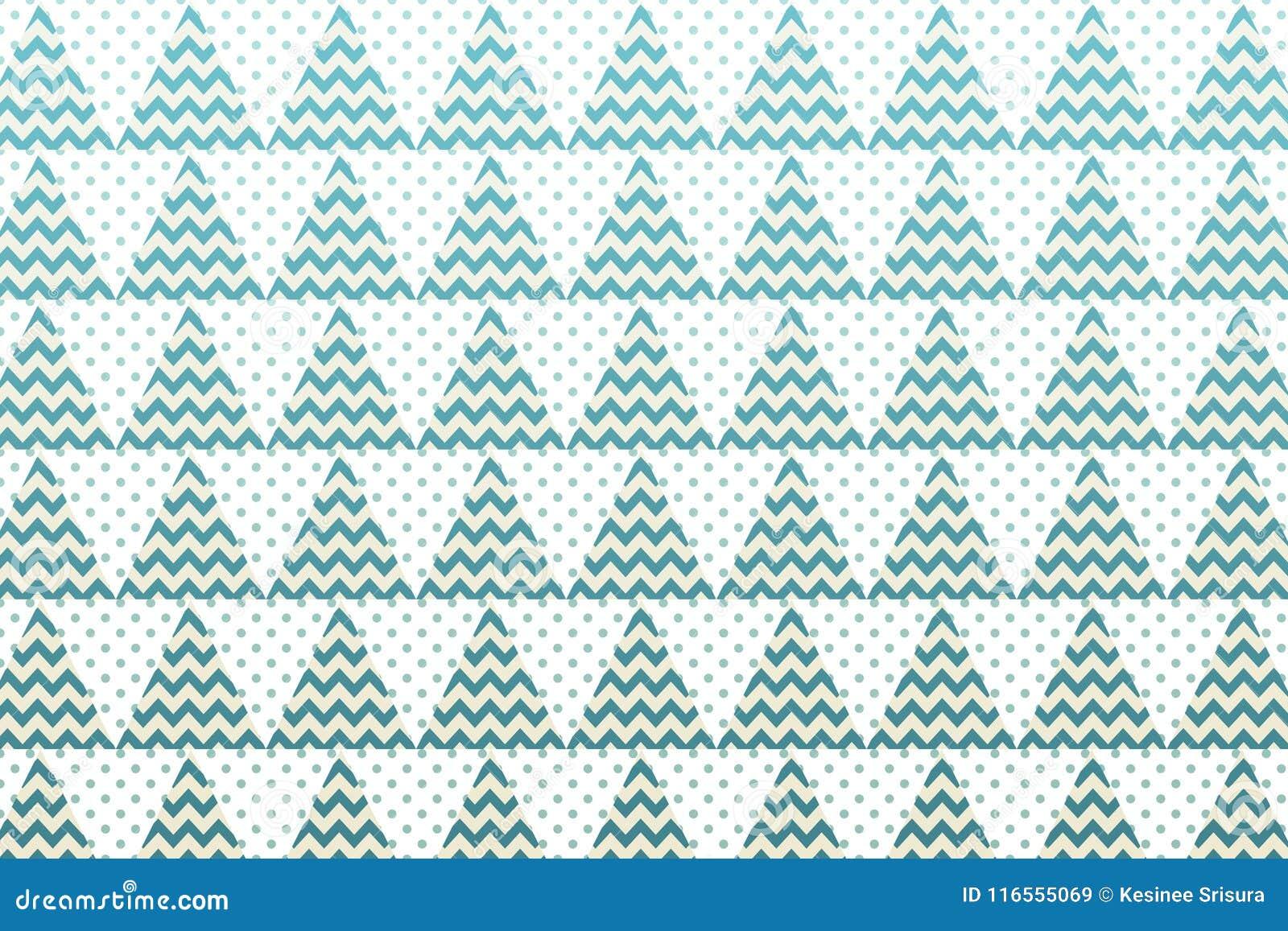 Choinka wzór z zieloną trójboka, zygzakowatej i małej kropką,