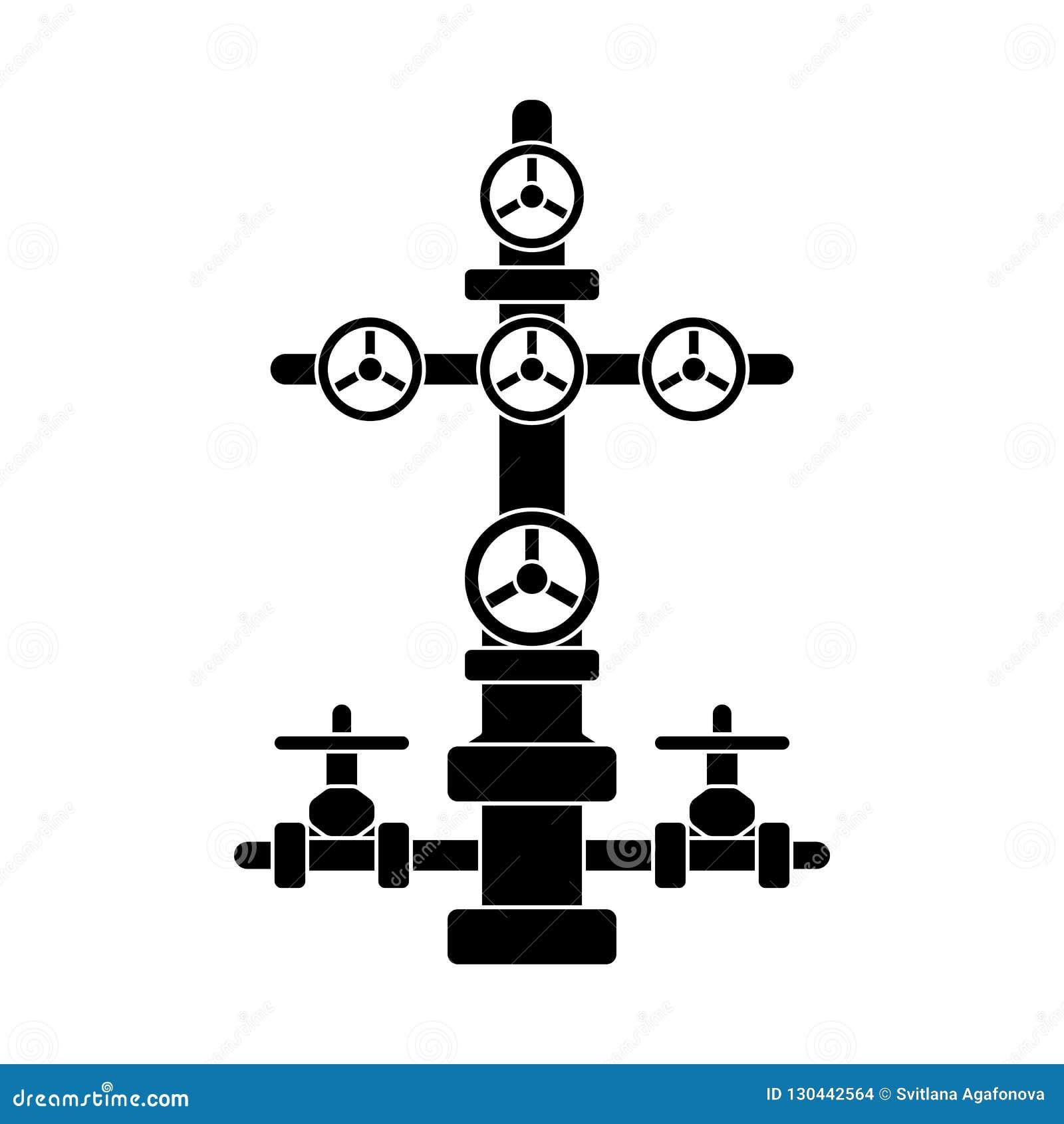 Choinka znak dla ropa i gaz studni; czarny płaski wektorowy wel