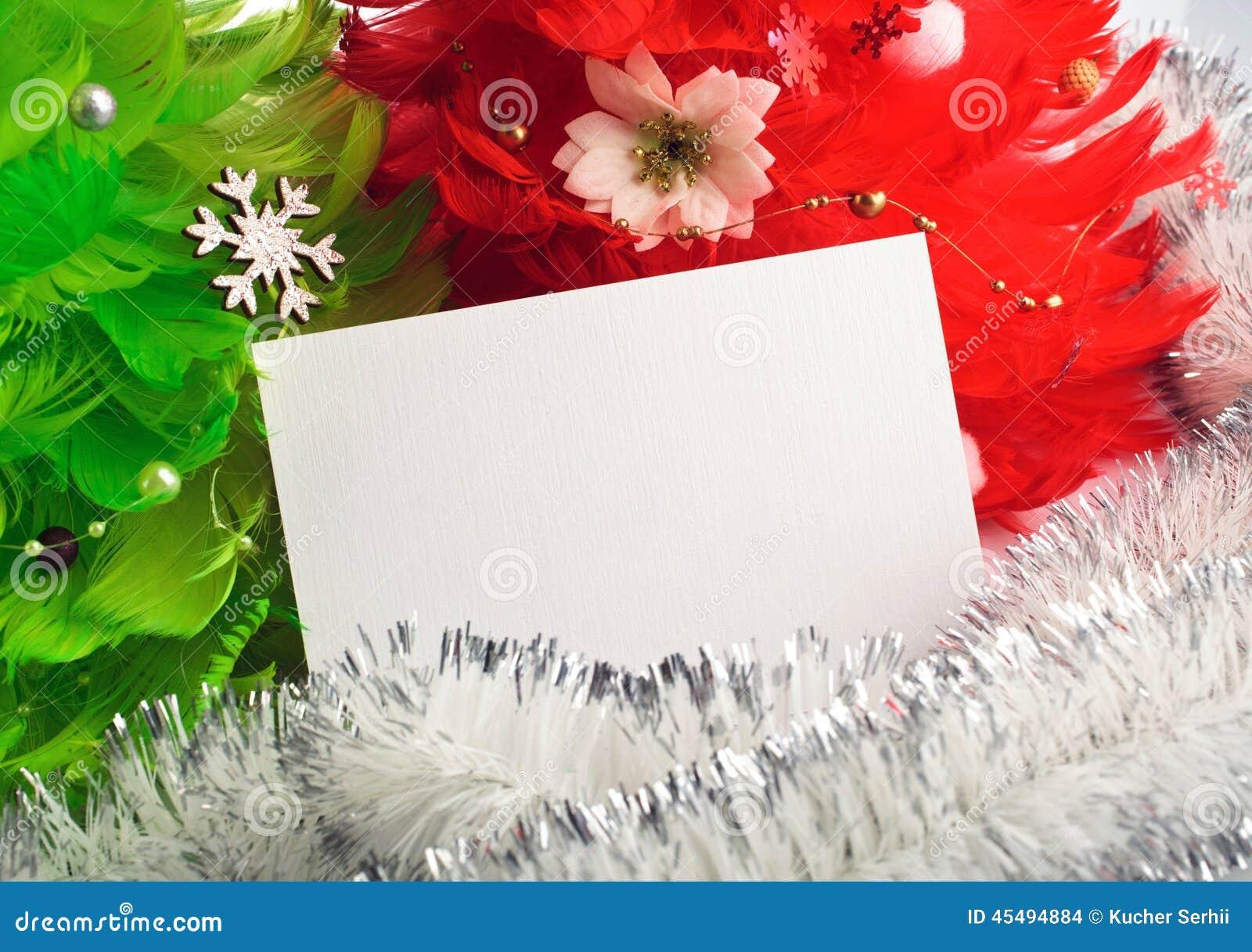 Choinki z kartka z pozdrowieniami