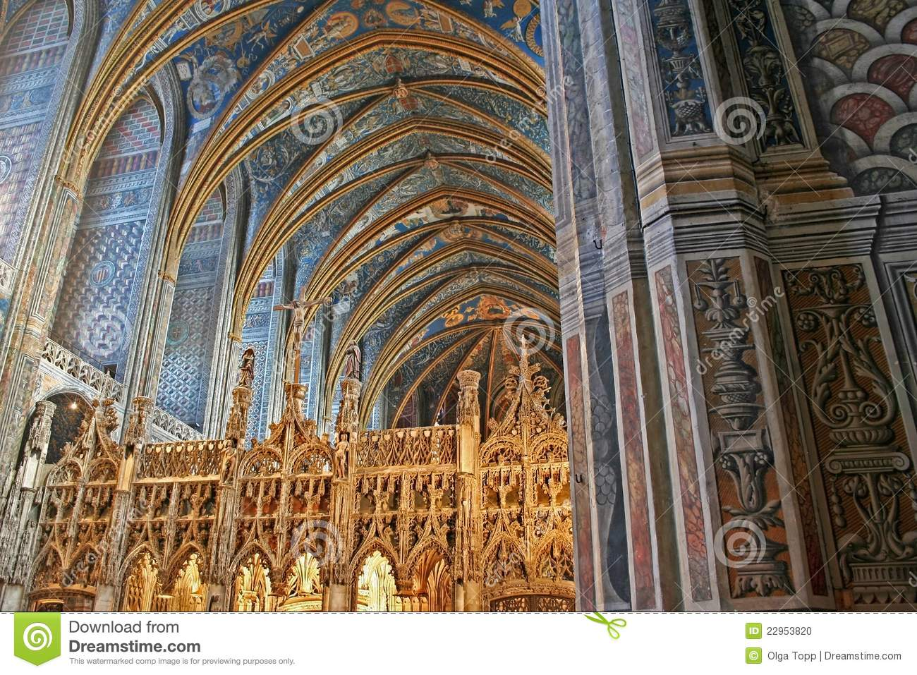 Choir Of UNESCO Heritage Site Albi Cathedral Stock Photo ...