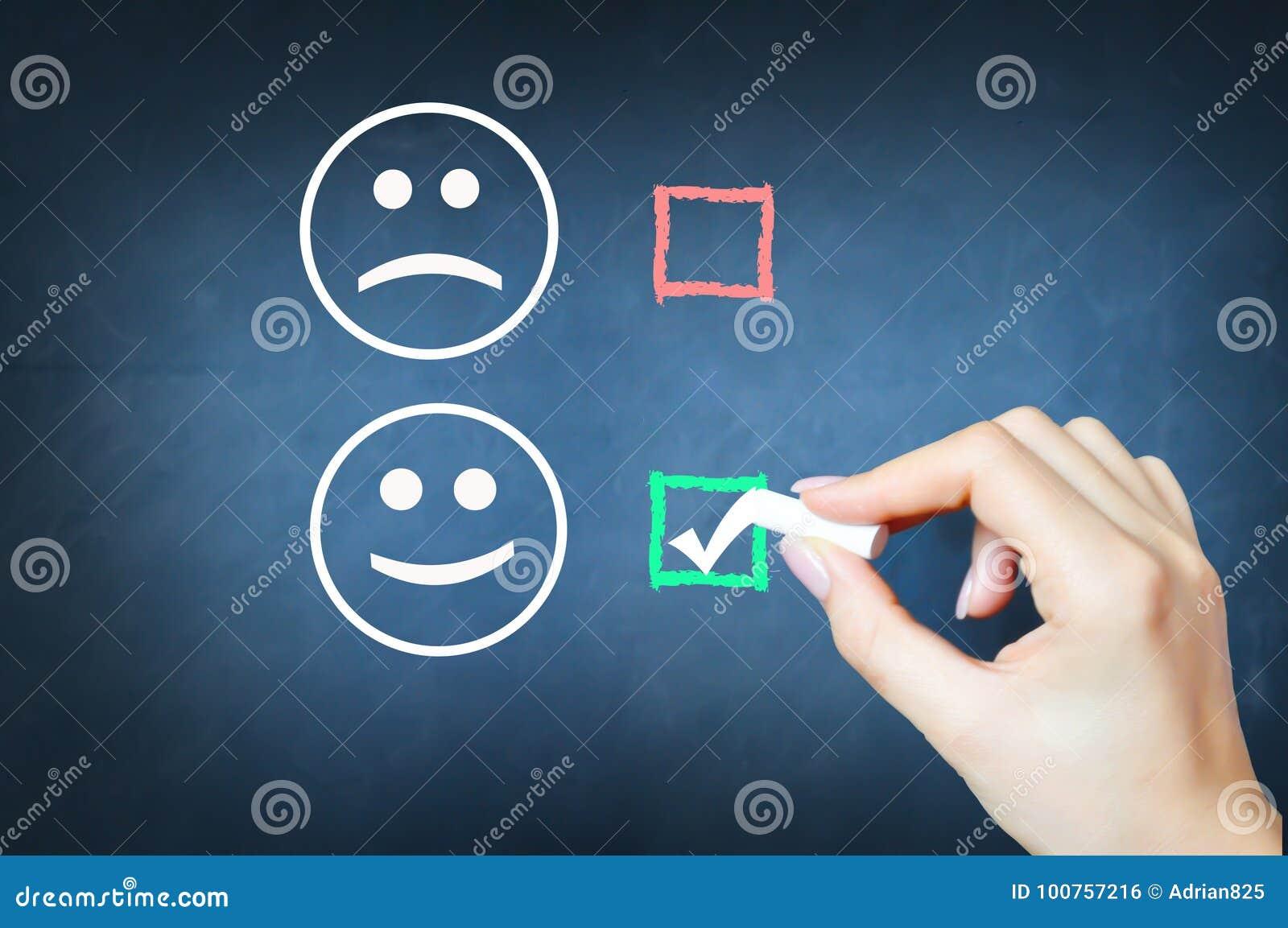 Choisissez d être heureux avec le coutil contre le visage souriant sur le tableau