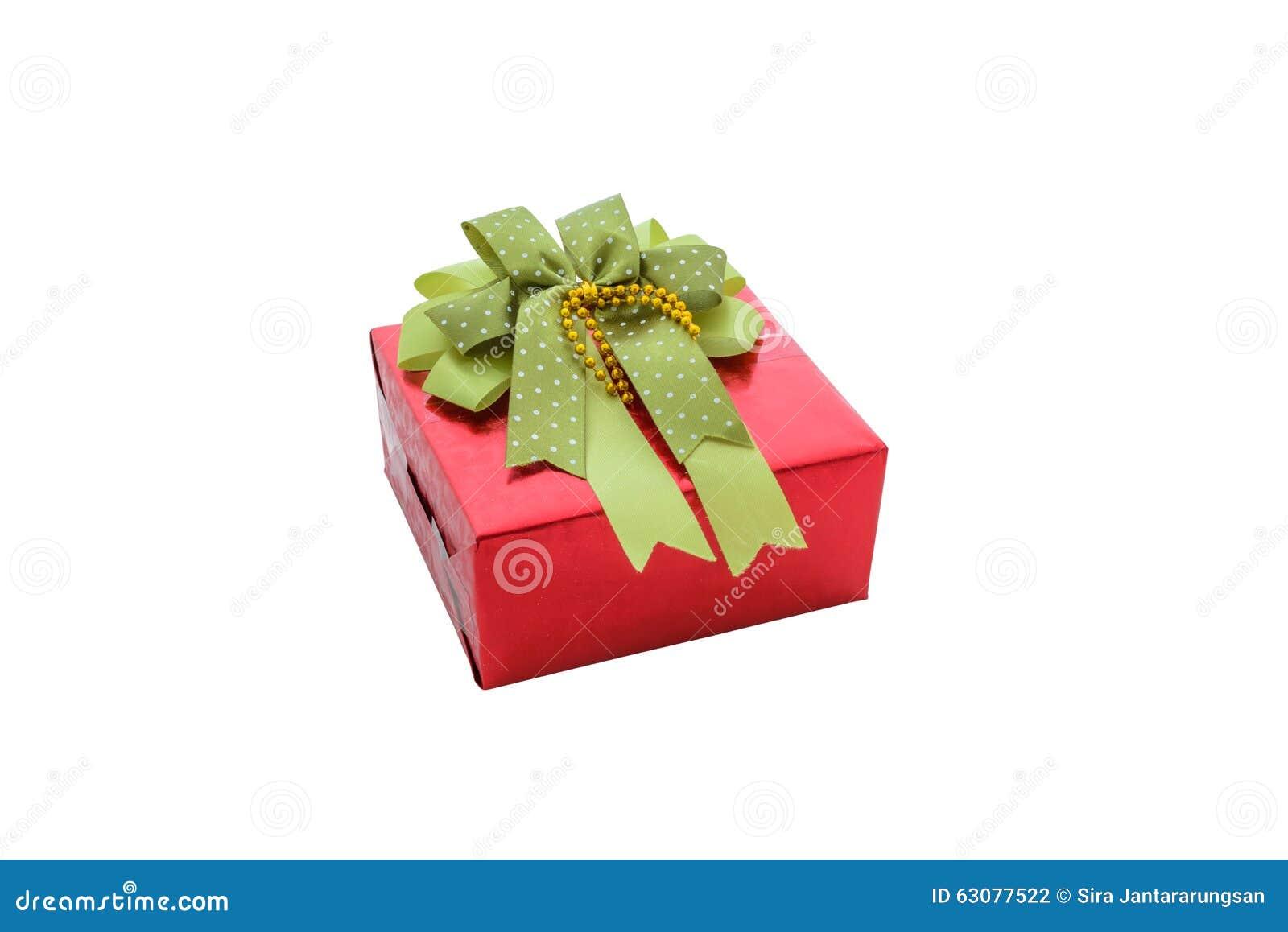 Download Choisissez Le Boîte-cadeau Rouge Avec Le Ruban Vert D'isolement Sur Le Backgrou Blanc Photo stock - Image du cadre, neuf: 63077522