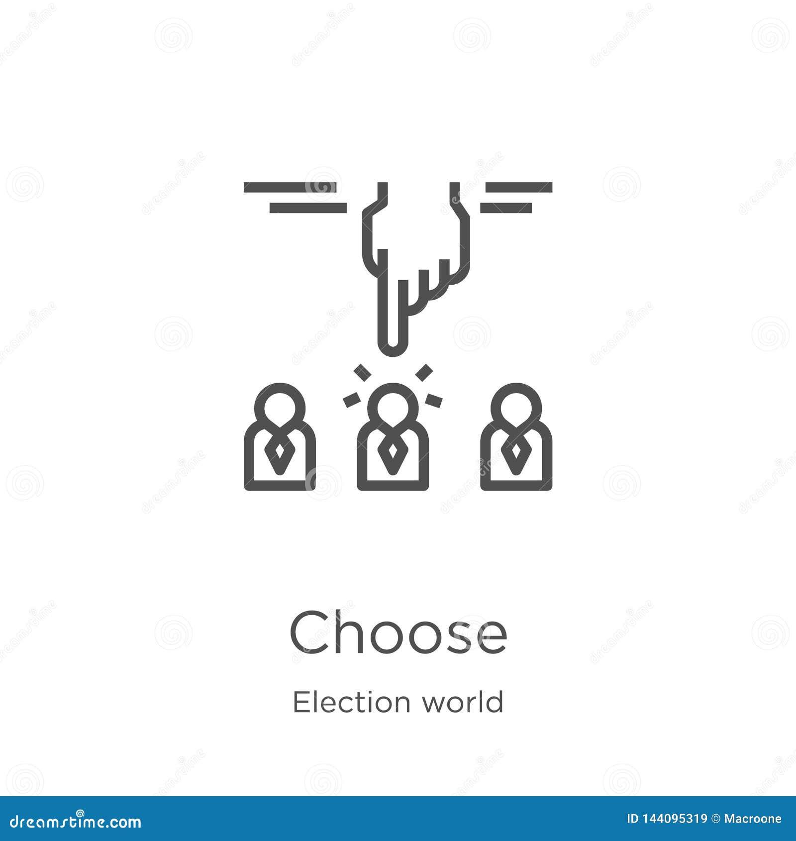 Choisissez le vecteur d icône de la collection du monde d élection La ligne mince choisissent l illustration de vecteur d icône d