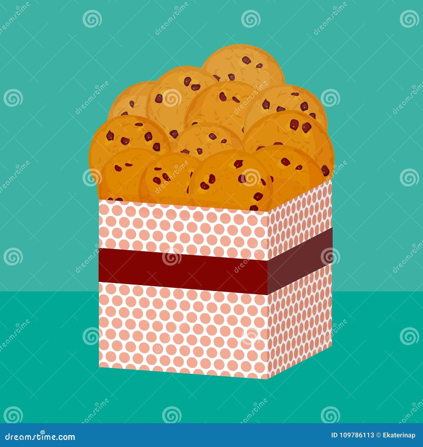 Choklad kaka som bakas nytt fyra kakor Närvarande rosa gåvaask med kex Ljusa färger på gräsplanblåttbakgrund Ve