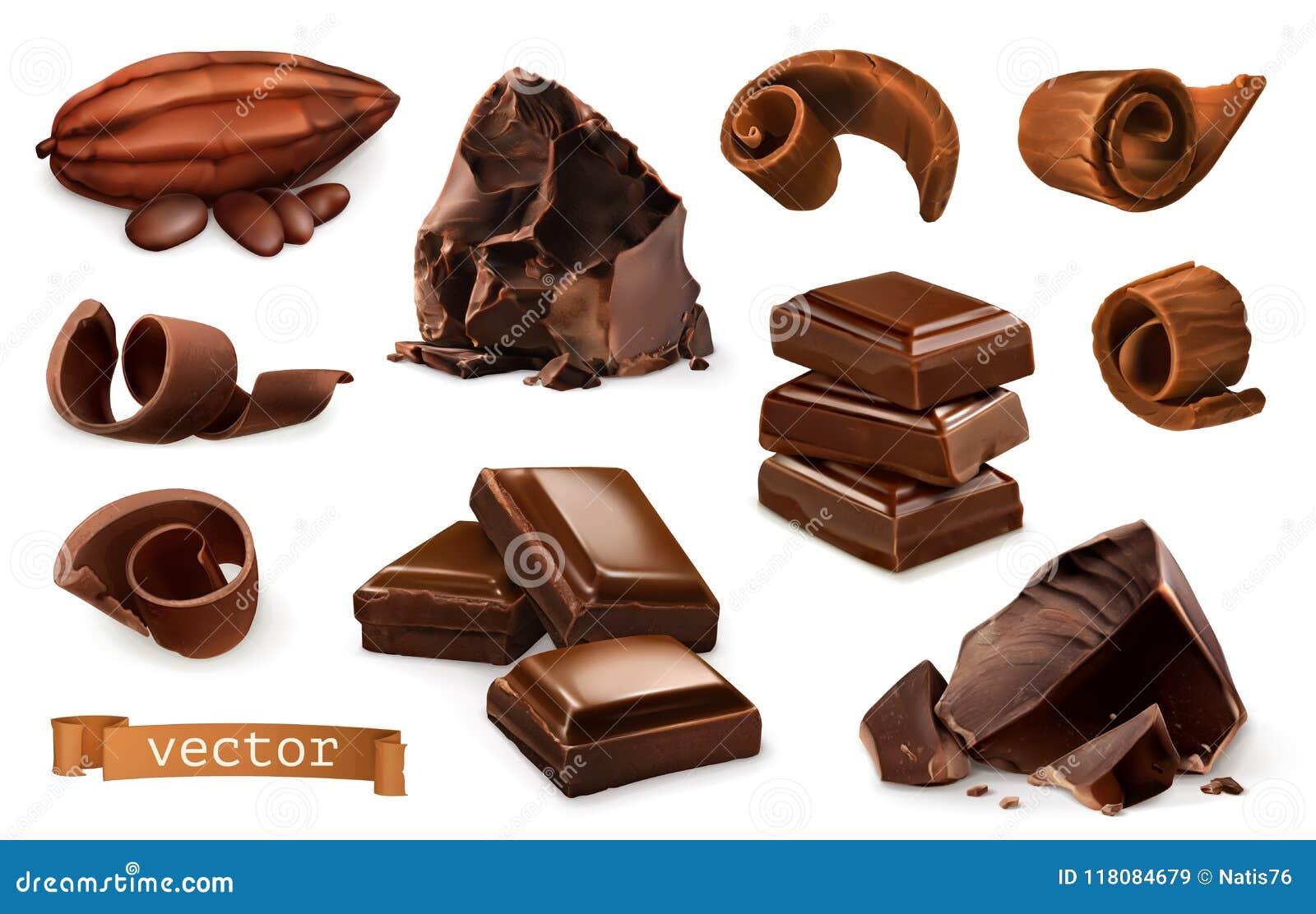 Choklad Stycken shavings, kakaofrukt symbolsuppsättning för vektor 3d