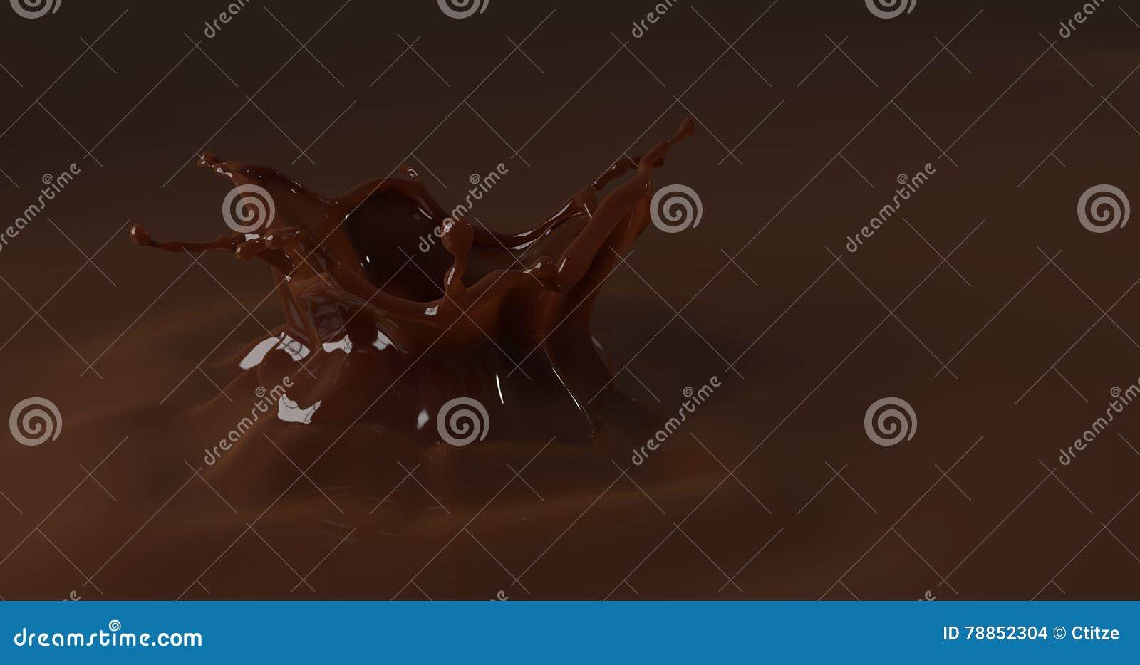 Chokladfärgstänk från söt droppe, brun flytande 3d framför illustr