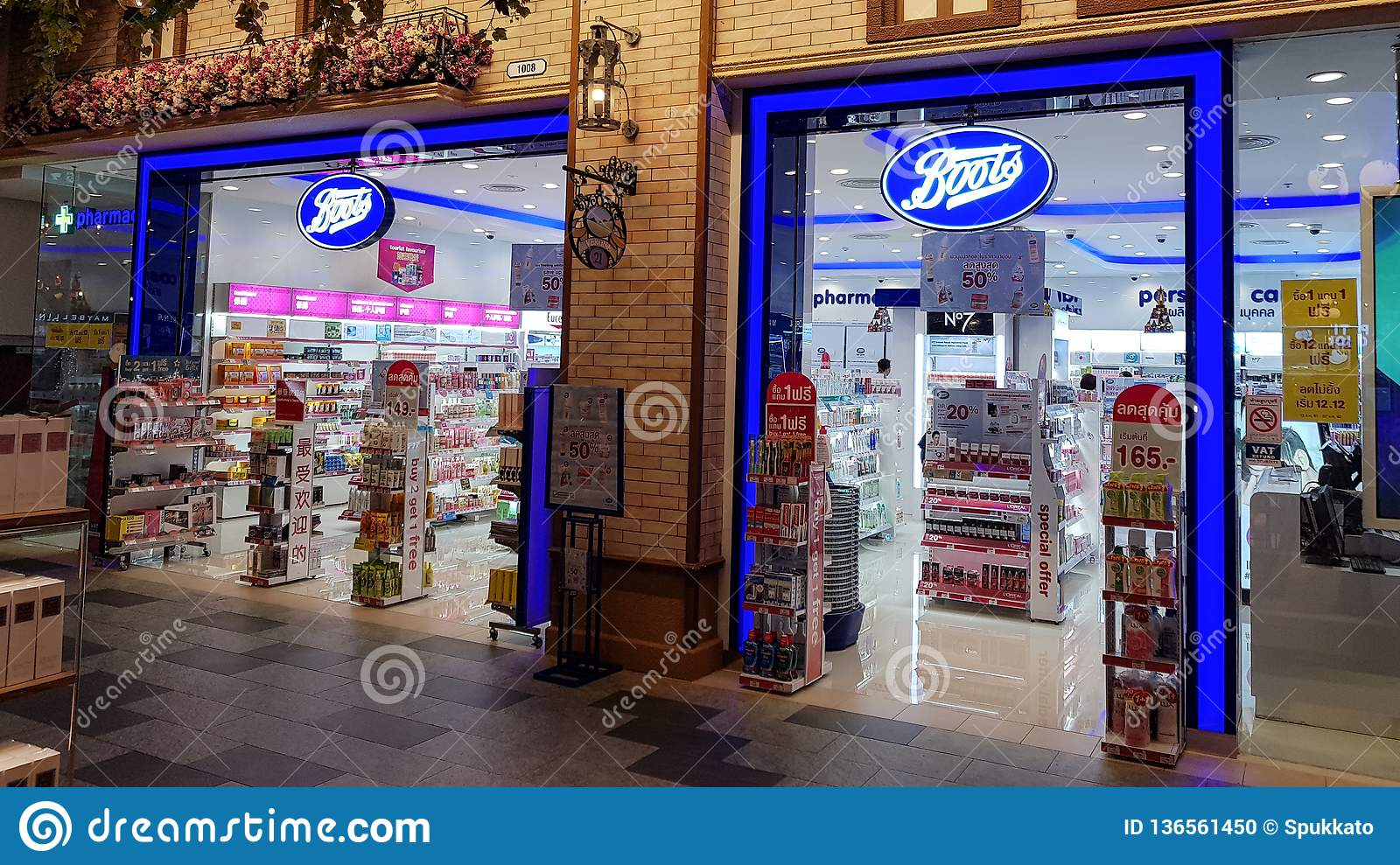 Chon Buri, Thailand - December 21, 2018: Exterior view of Boots pharmacy store, Terminal 21 Pattaya branch. The Boots pharmacy