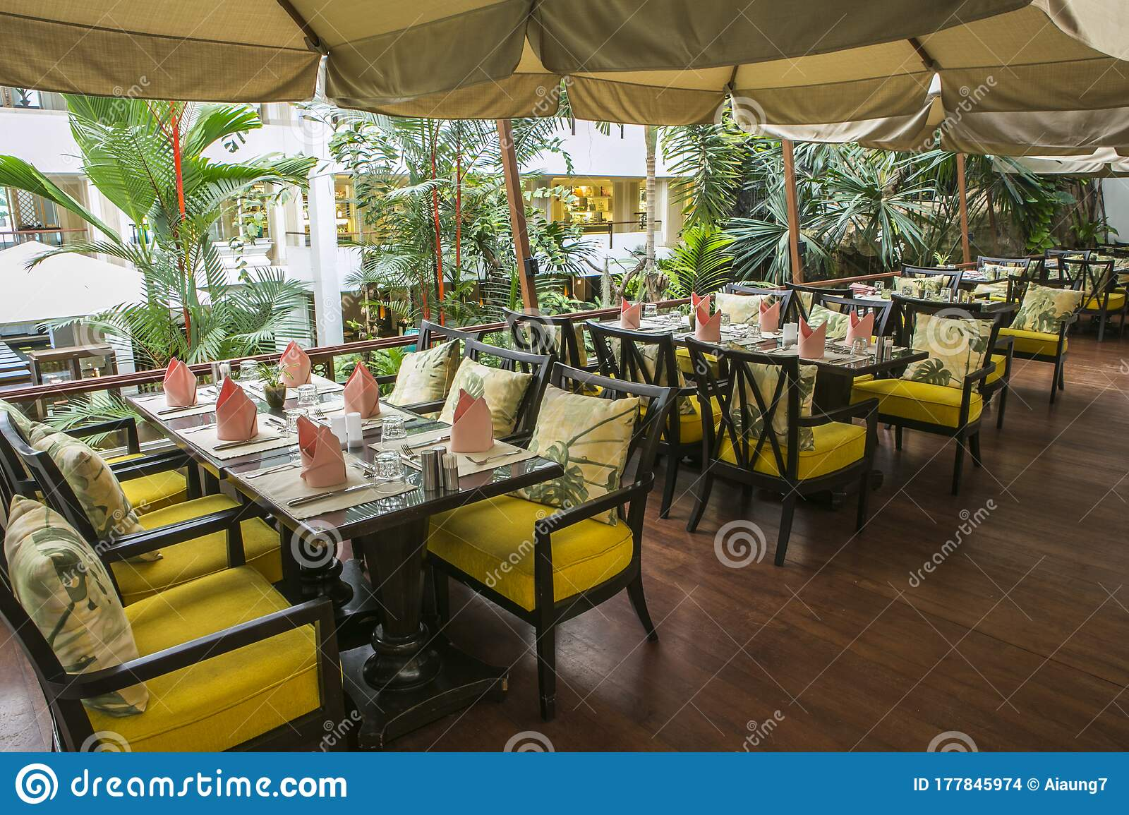 Chon Buri Thailand March 28 2015 Wood Stair Way Down To Tropical Garden Luxury Indoor Green House Editorial Stock Image Image Of Cushion Dining 177845974