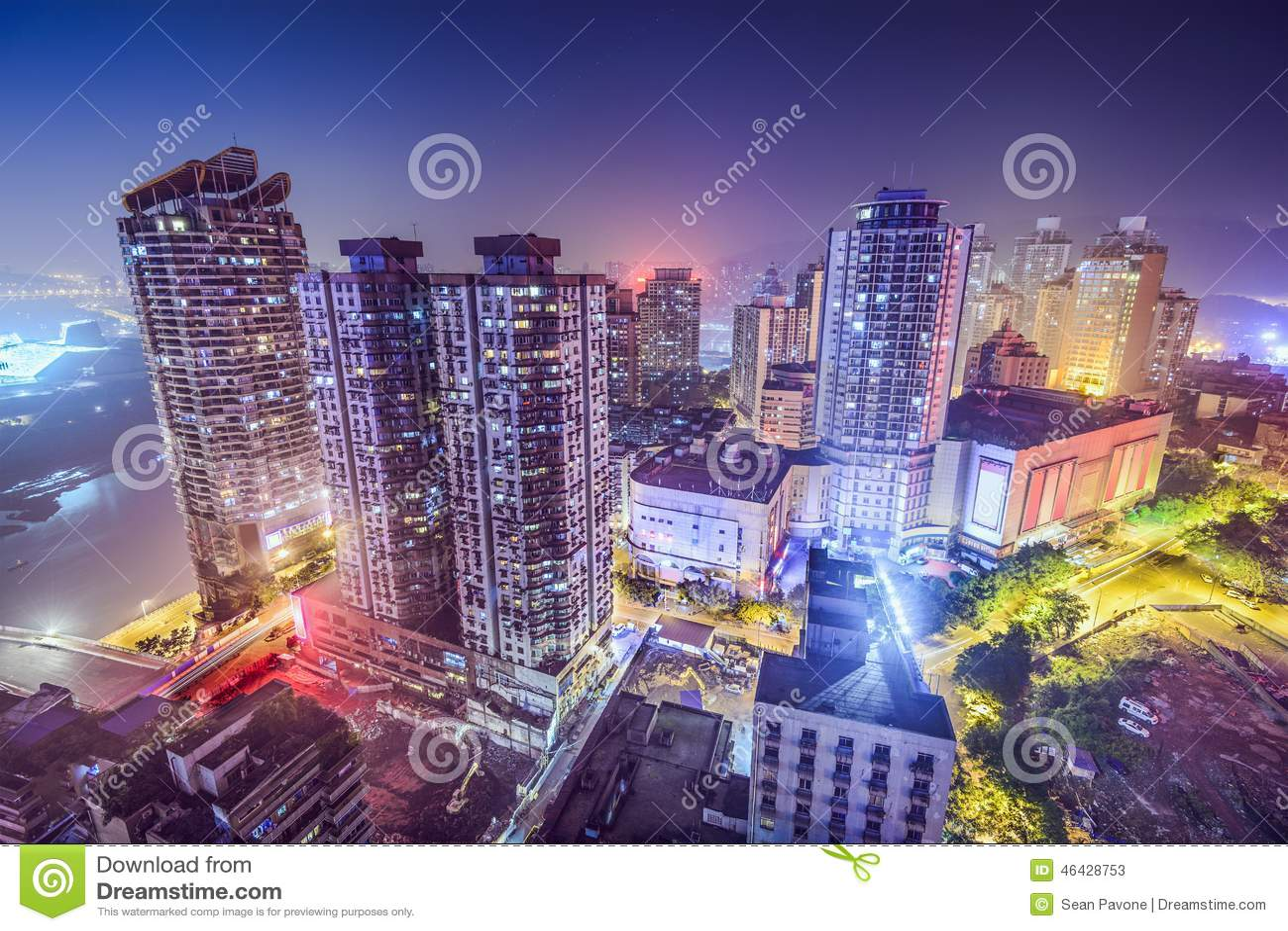 Chongqing, paysage urbain de la Chine la nuit