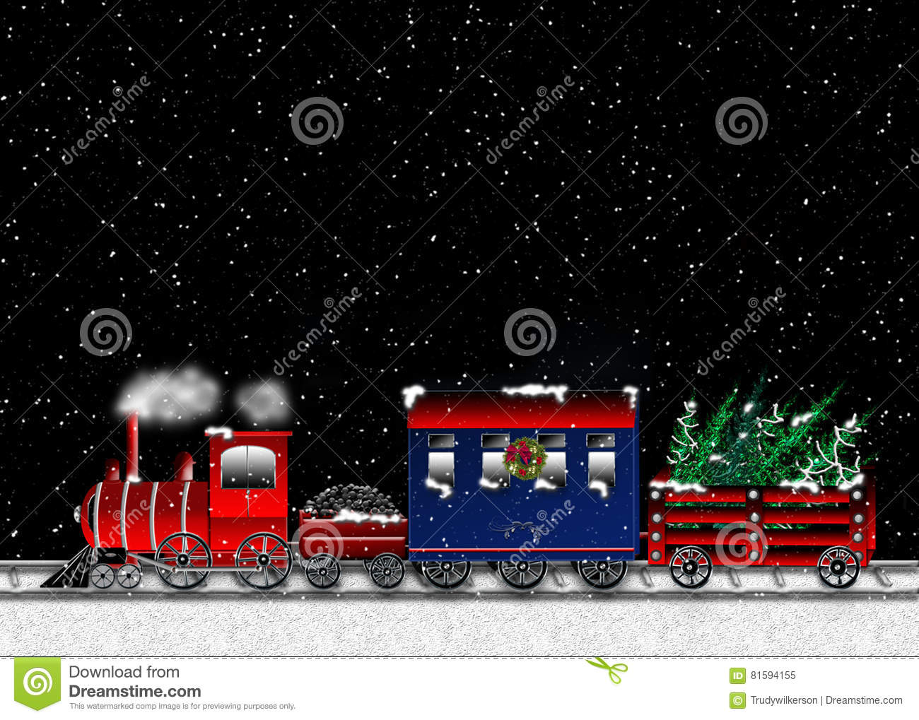 download choo choo train carrying christmas trees graphic stock illustration illustration of trees - Choo Choo Christmas