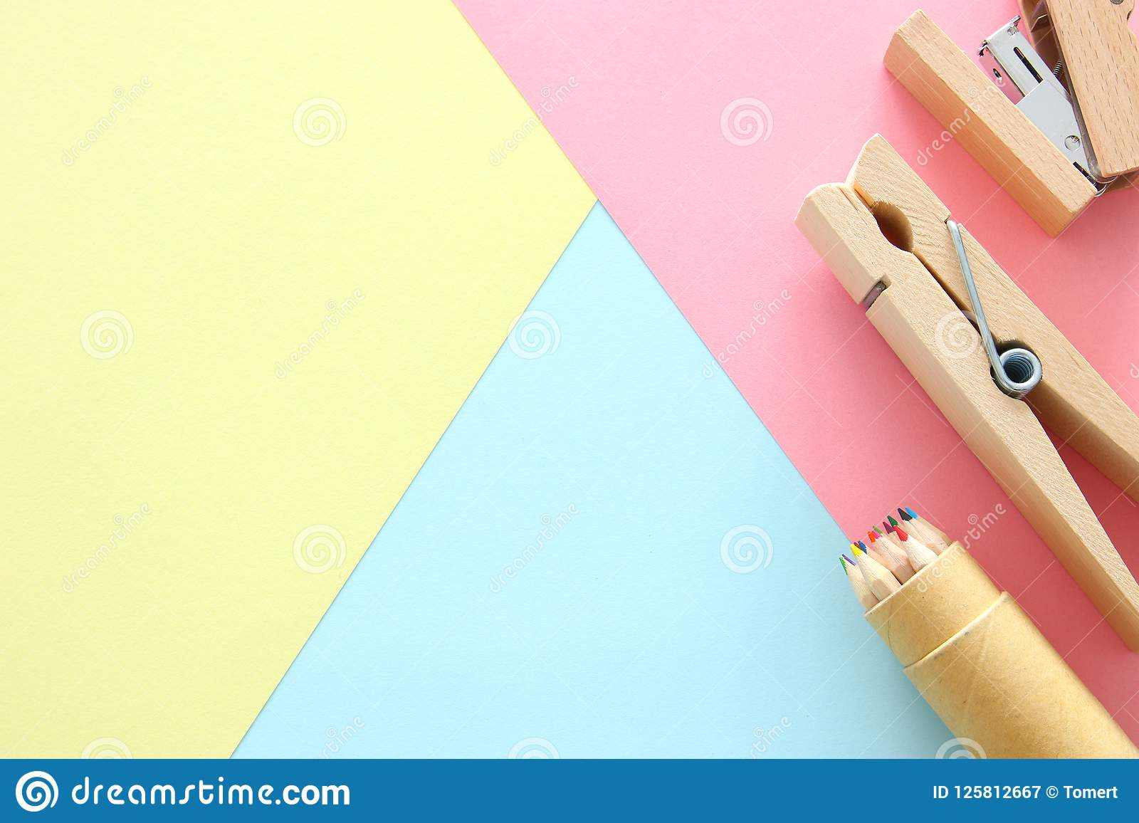 chool or office supplies, back to school over pastel background template.