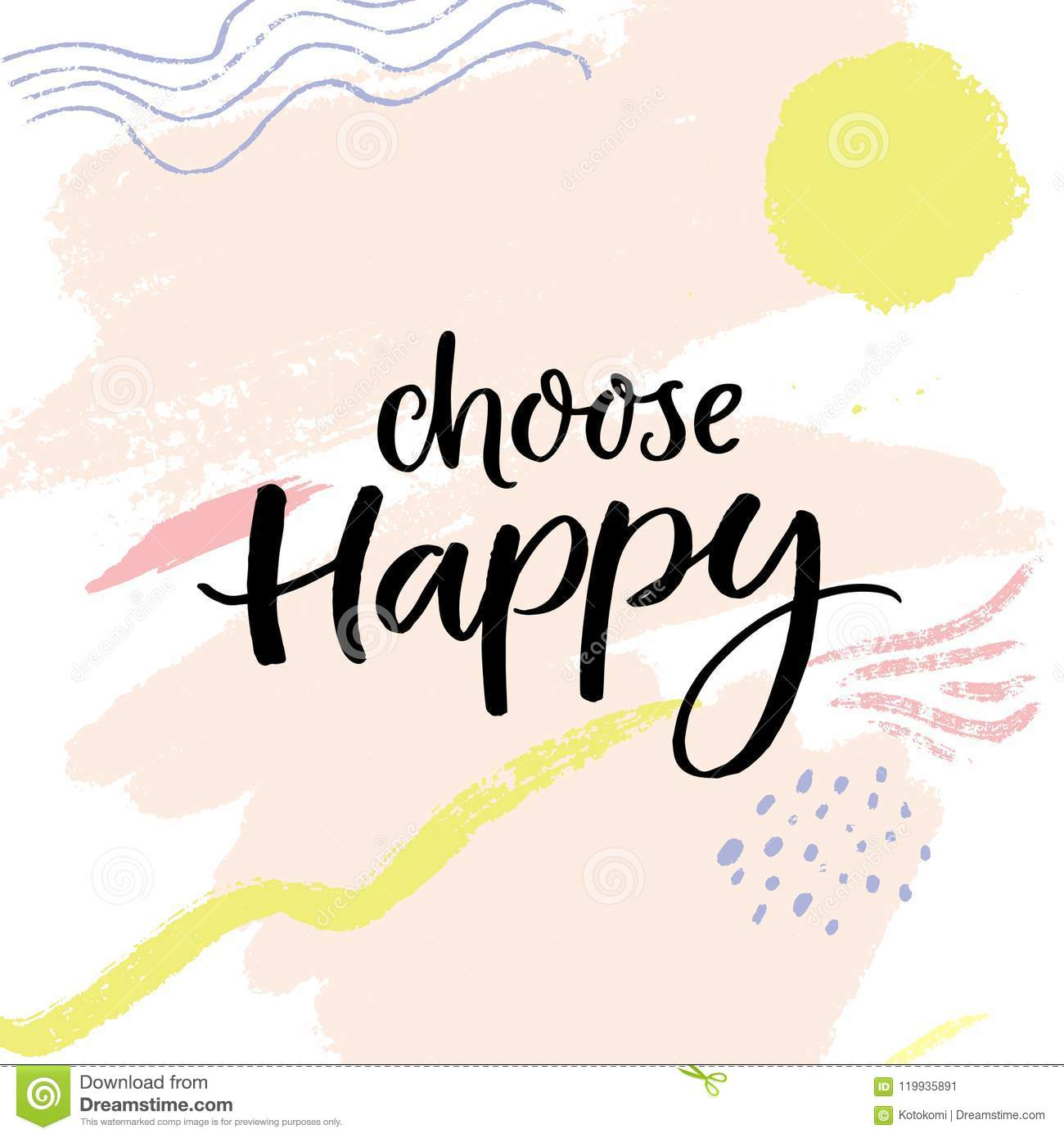 Choose Happy Positive Saying Handwritten Quote On Abstract Pastel