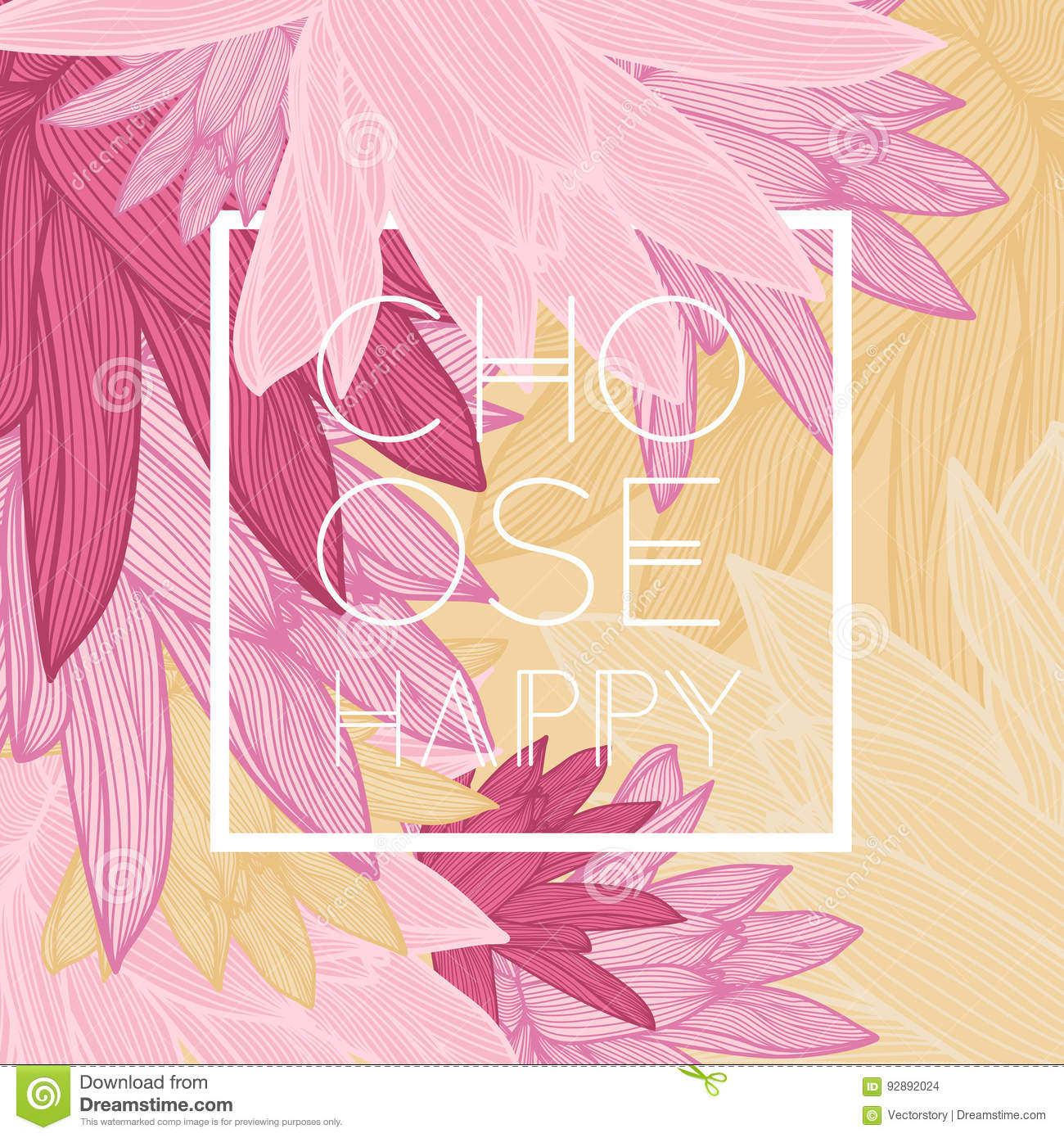 Choose Happy Quote Floral Background Stock Vector Illustration Of