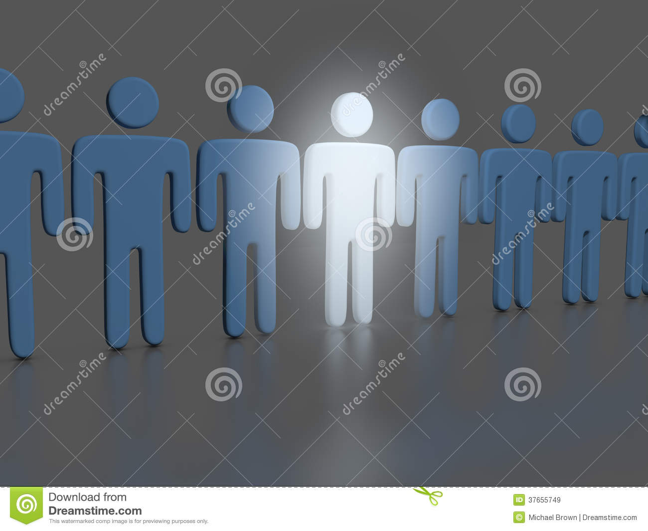 Choose One Bright Person In People Line Royalty Free Stock