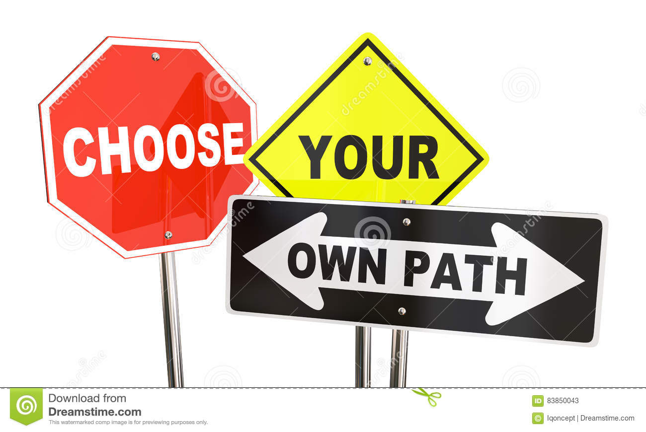 Choose Your Own Path Decide Which Way Signs Stock