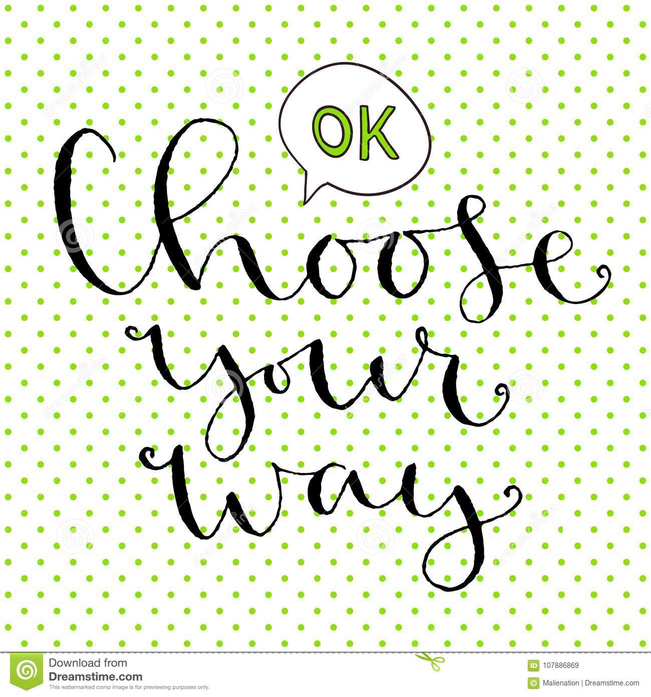 choose your way handwritten greeting card design printable quote