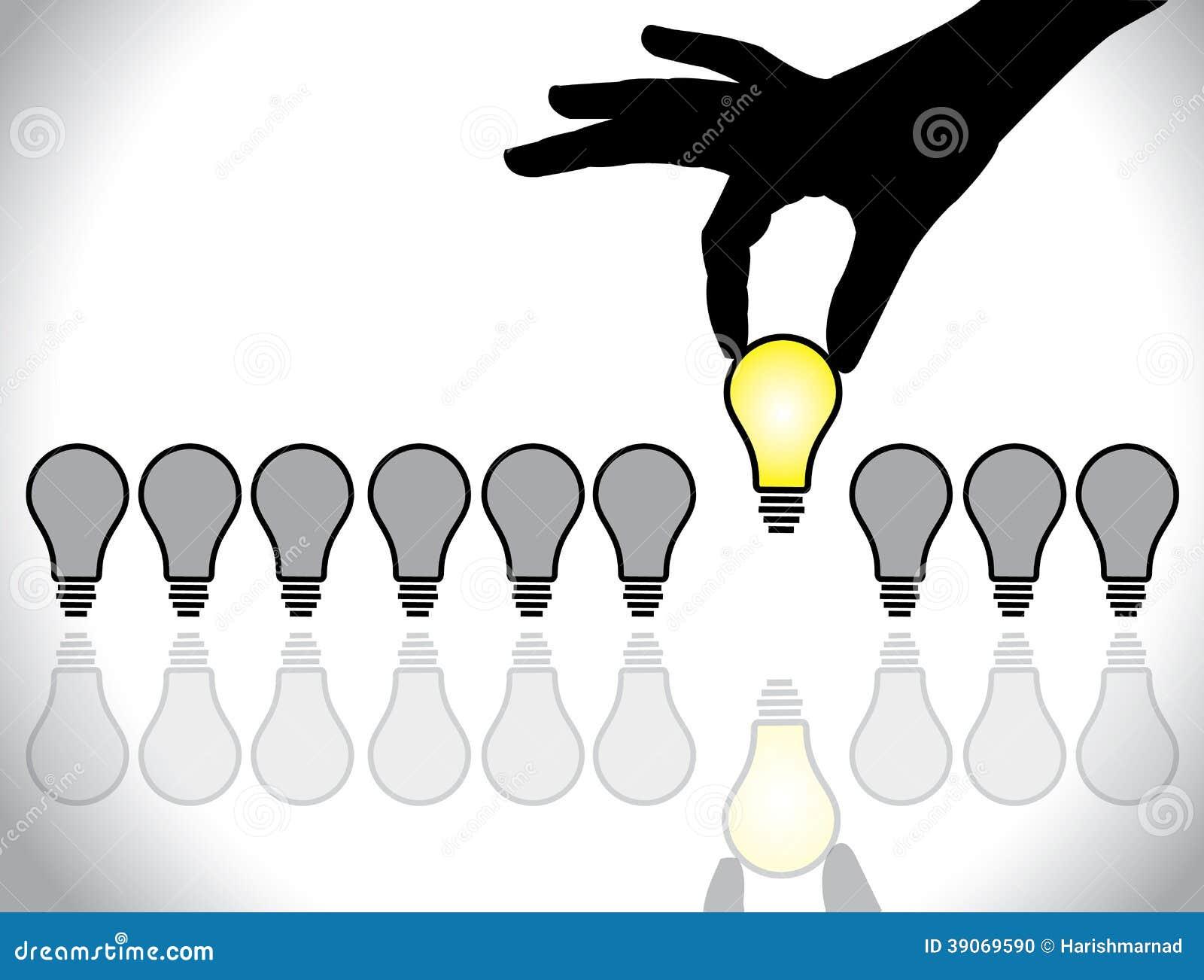 Choosing The Best Idea Lightbulb Concept Stock Vector