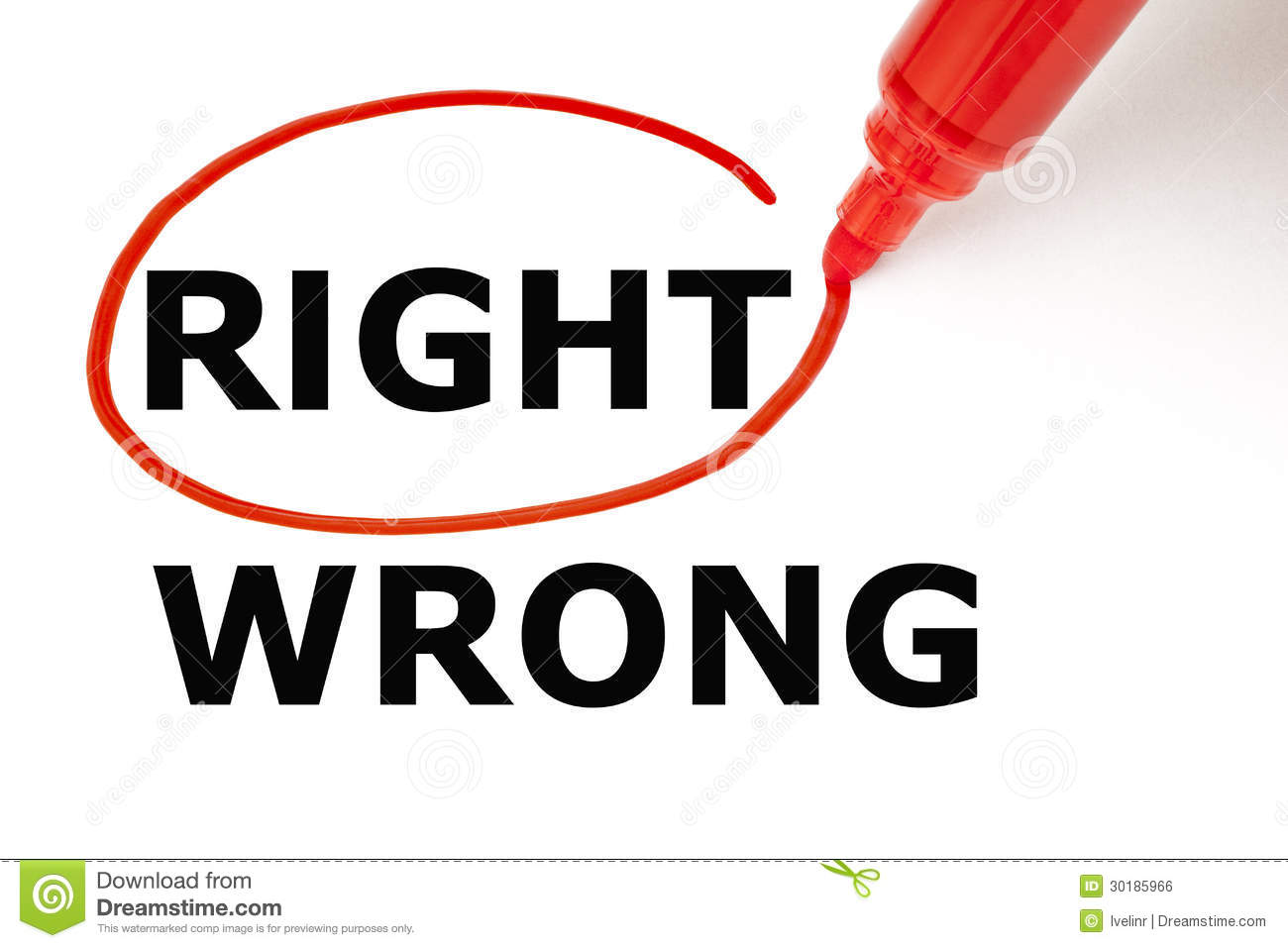 Choosing Right instead of Wrong. Right selected with red marker.