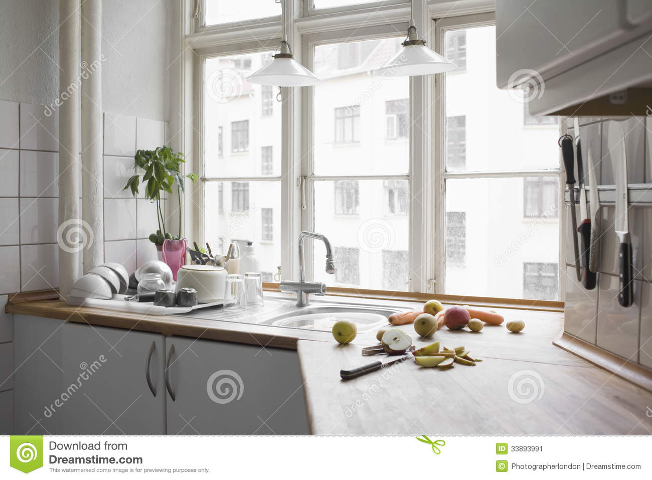 Chopped Fruit And Vegetables At Kitchen Worktop Stock Image - Image ...