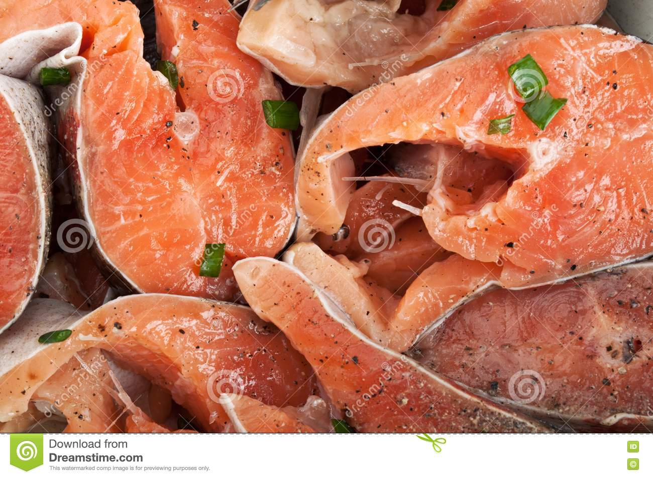 Chopped pieces of red fish royalty free stock photo for Piece of fish
