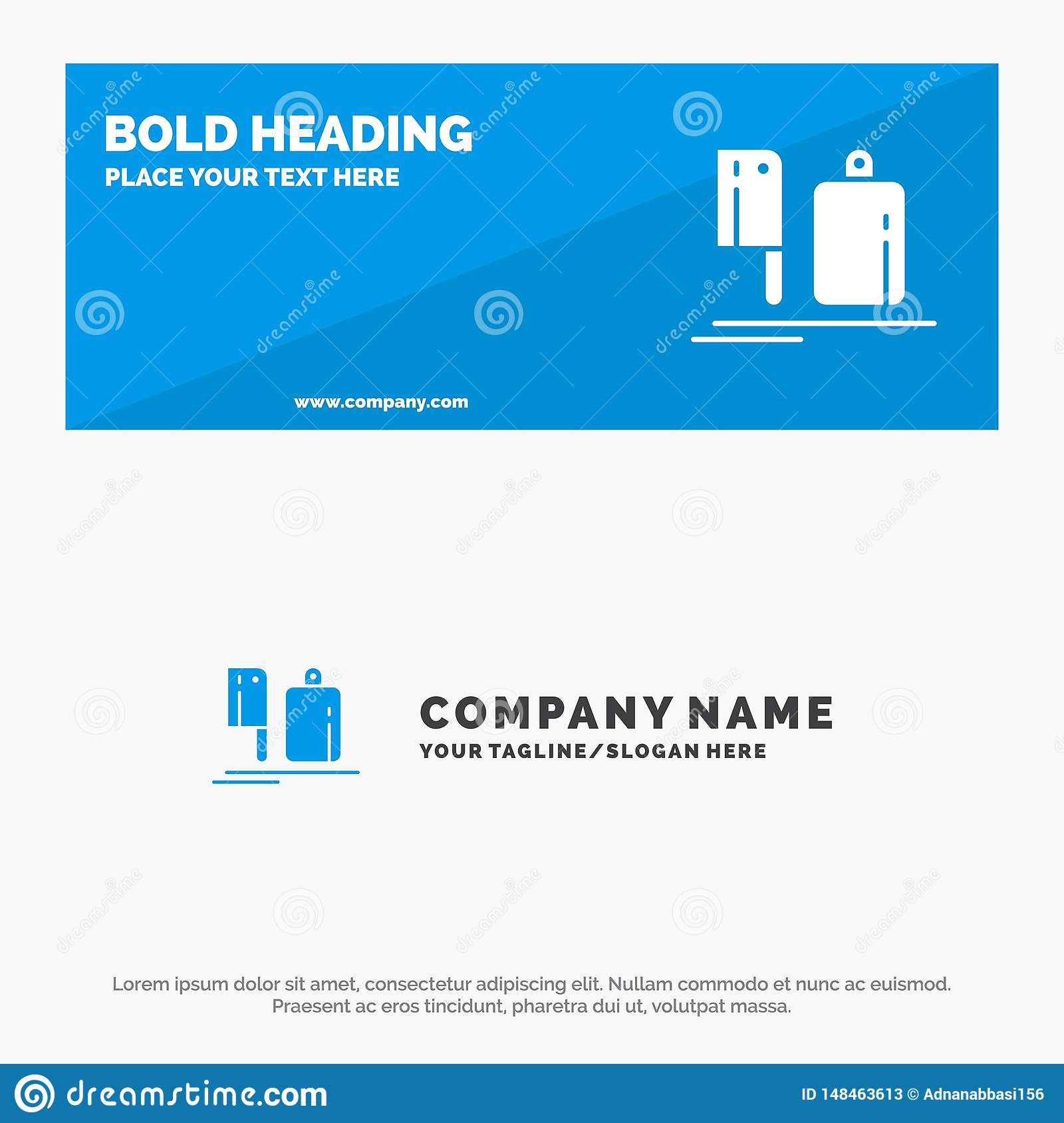 Chopper, Kitchen, Chef, Preparation, Food SOlid Icon Website Banner and Business Logo Template