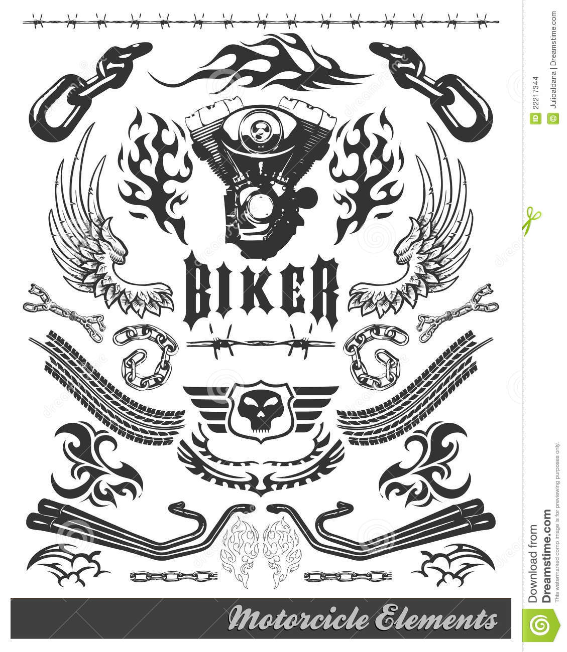 Chopper Motorcycle Elements - Vector - Eps Stock Images - Image ...