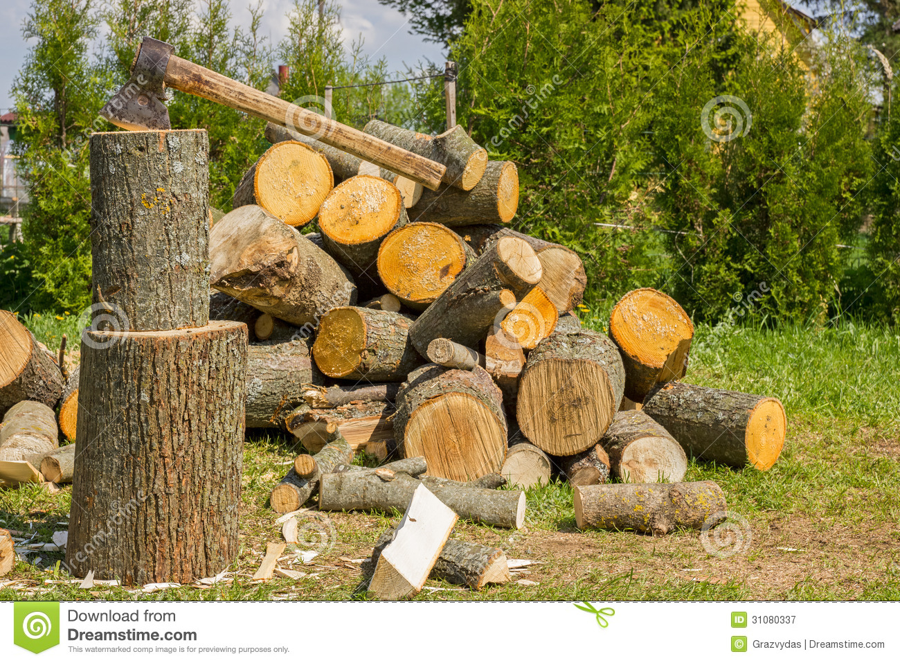 Chopping firewood royalty free stock photography image