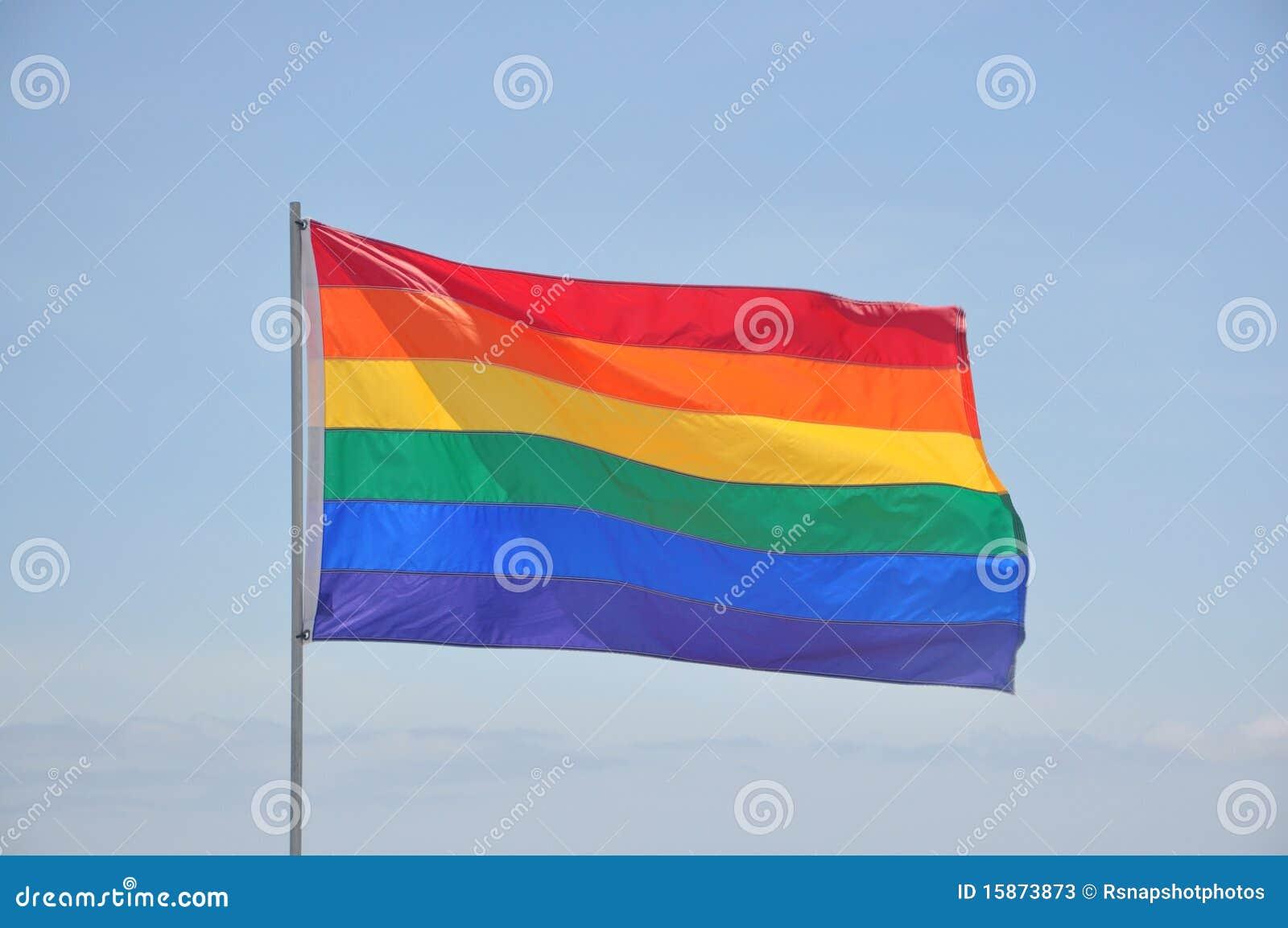 Chorągwiana homoseksualna słupa dumy tęcza