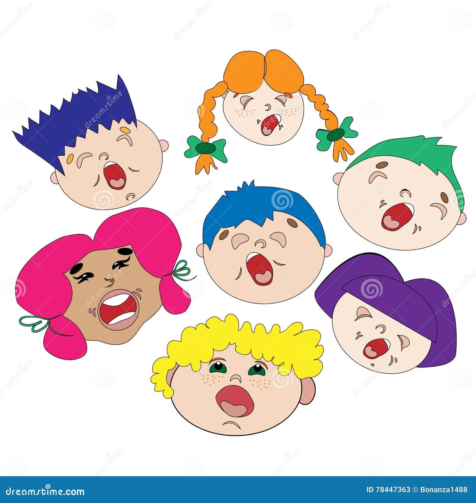 Chor Von Netten Kindern Jungen Und Madchen Singen Lieder Farbiges