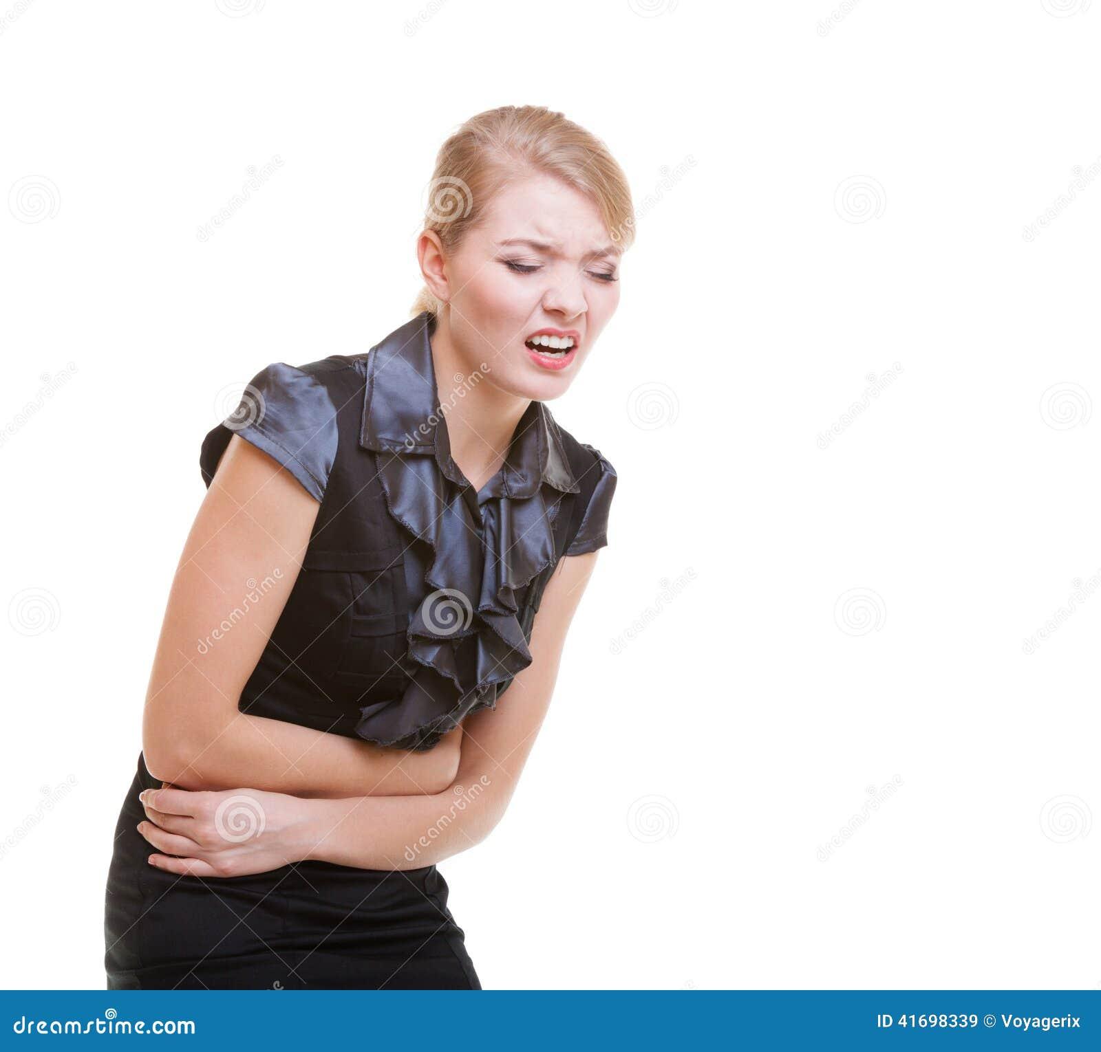 Chora biznesowa kobieta z żołądek obolałości bólem Kłopot w pracie