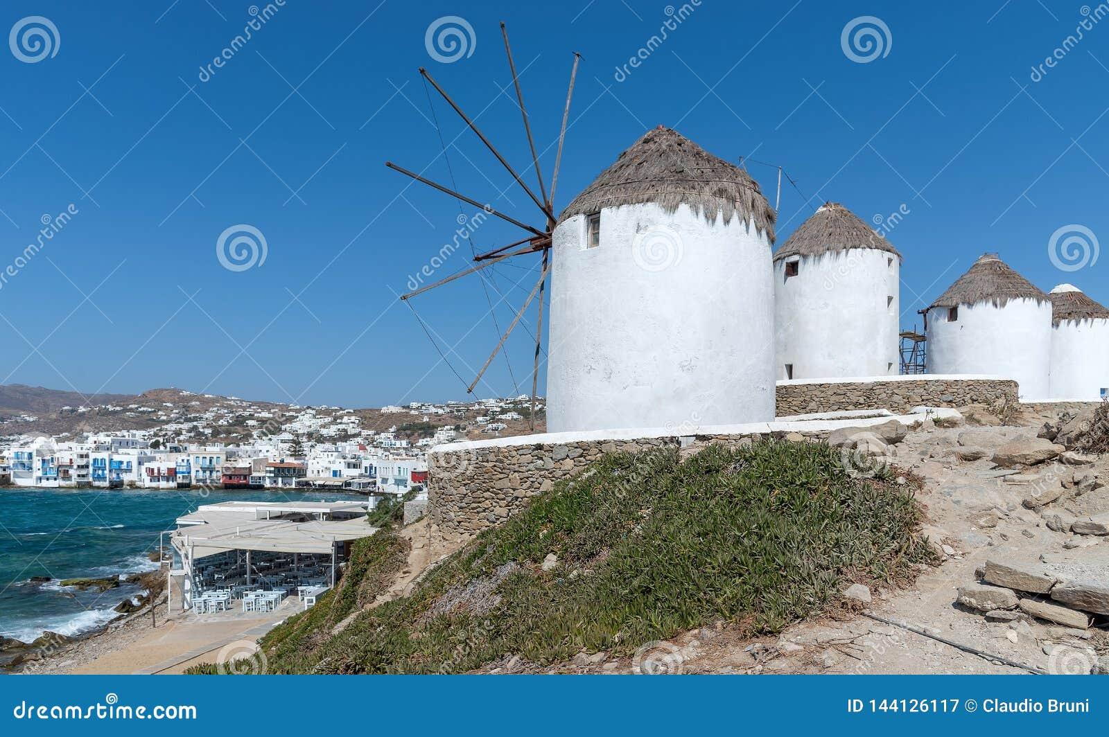 Chora village  Little Venice  - Mykonos Cyclades island - Aegean sea - Greece