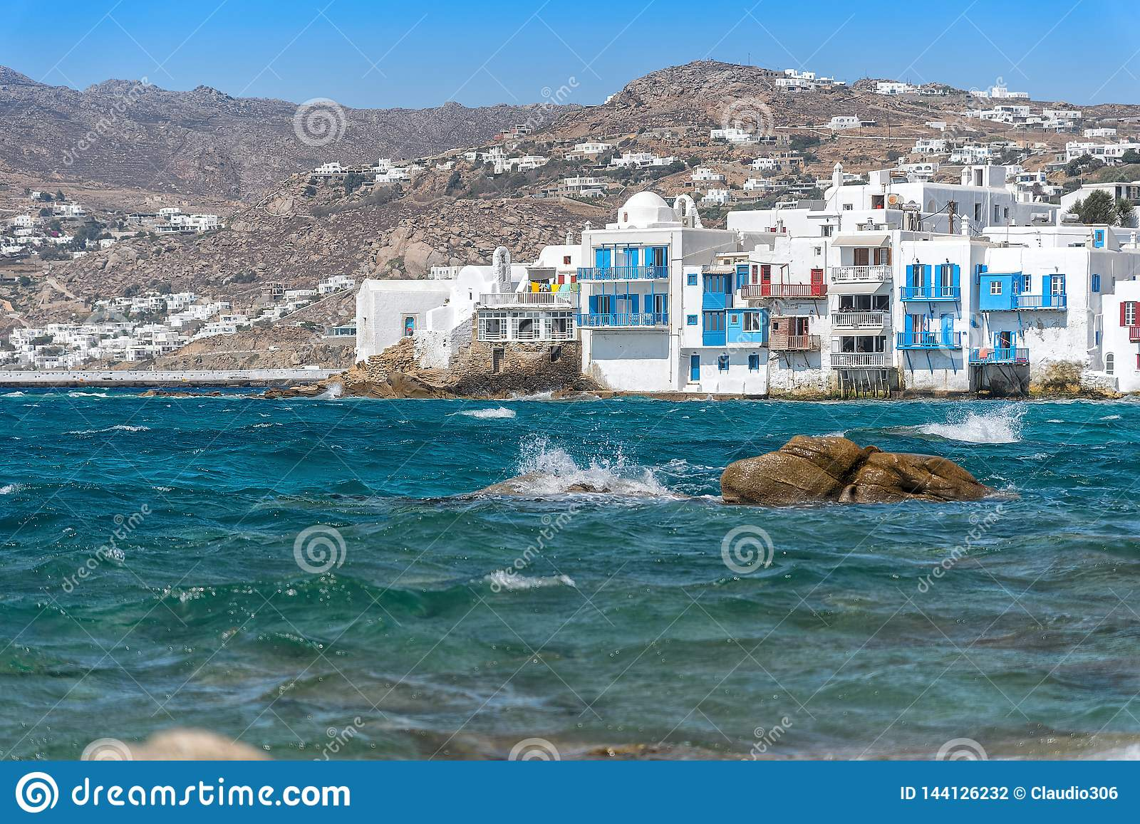 Chora village  Little Venice  - Mykonos Cyclades island - Aegean sea - Greece