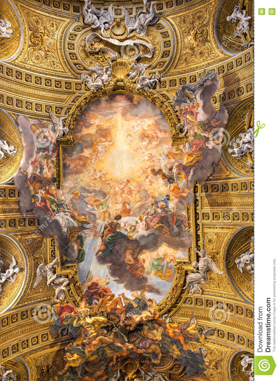 Download Chorus Of Basilica Il Gesu, Rome, Italy. Ceiling View Stock Photo - Image of loyola, church: 72377852