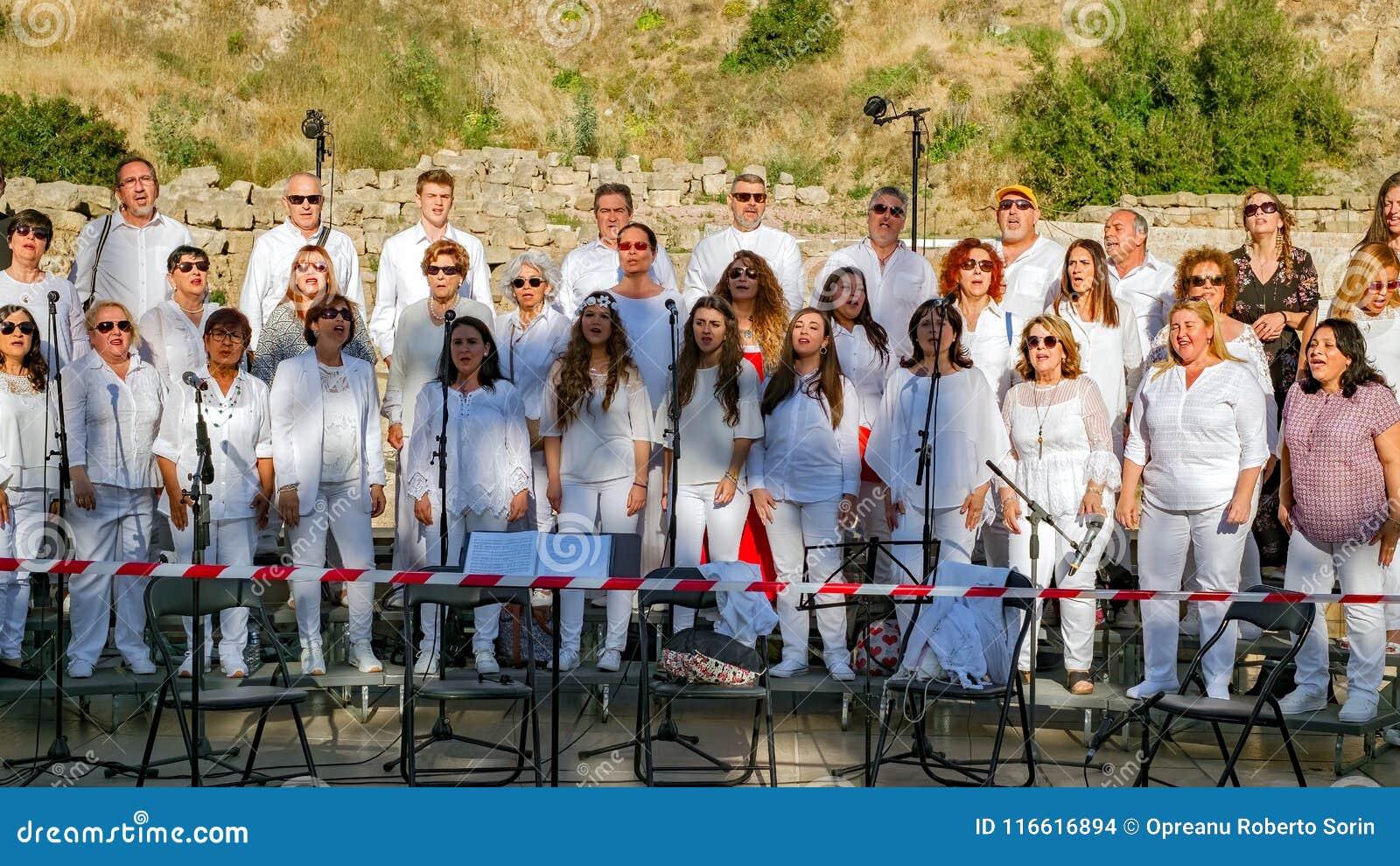Chorus Of People Singing Religious Songs Editorial Stock