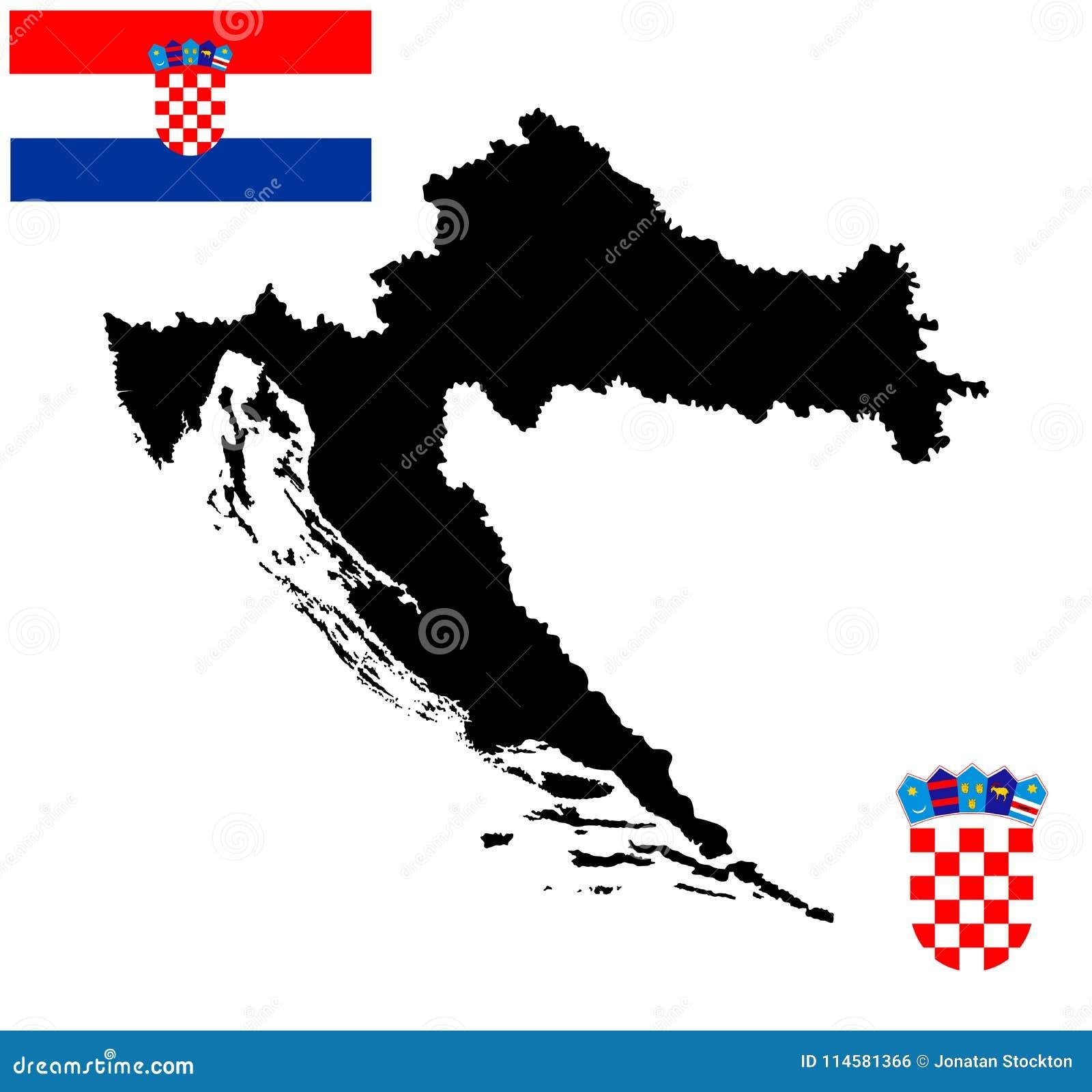 Chorwacja Mapy Sylwetka Chorwacja Zakiet Foka Lub Krajowy